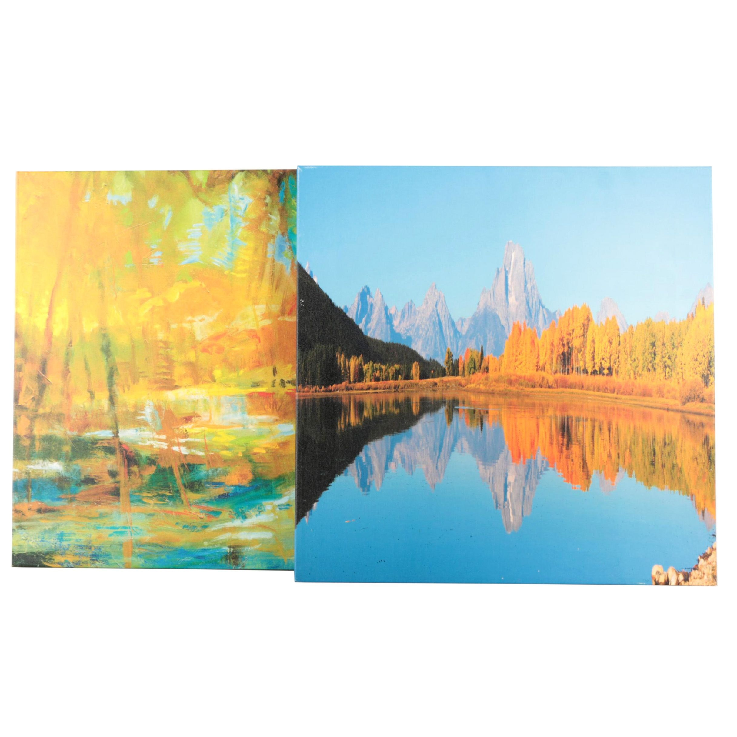Giclees on Canvas of a Landscape and Abstract Scene