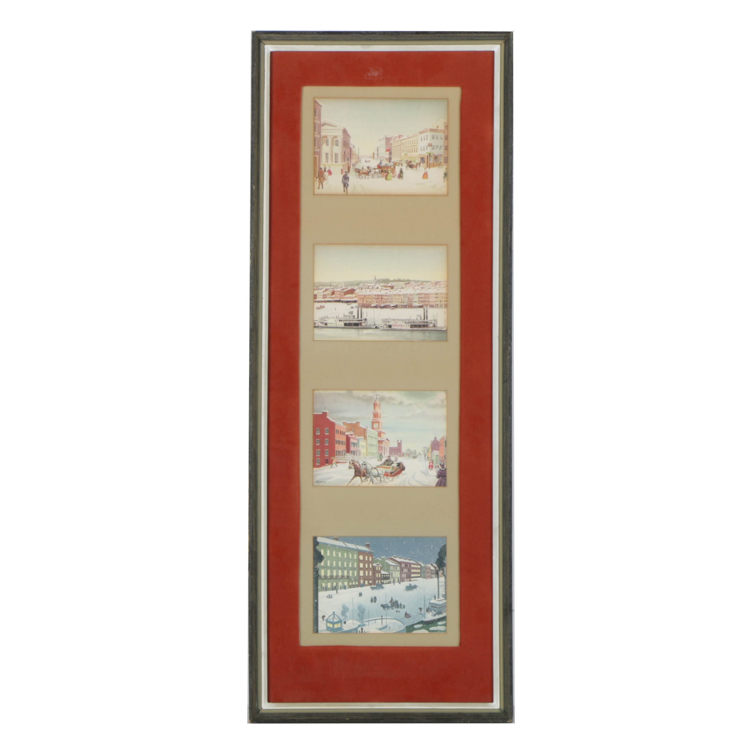 Four Offset Lithographs of Winter Scenes