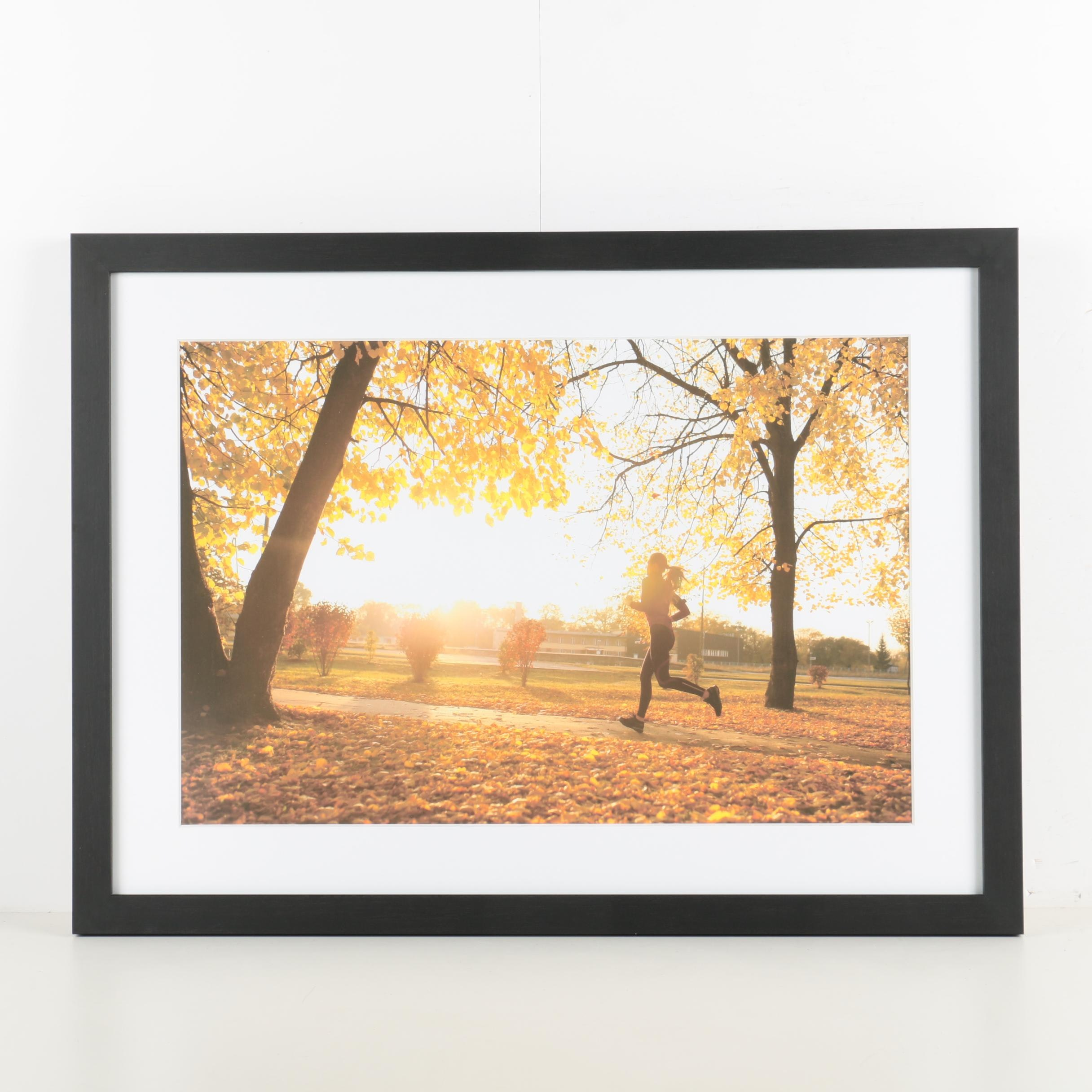 Reproduction Print on Paper of a Runner in a Park