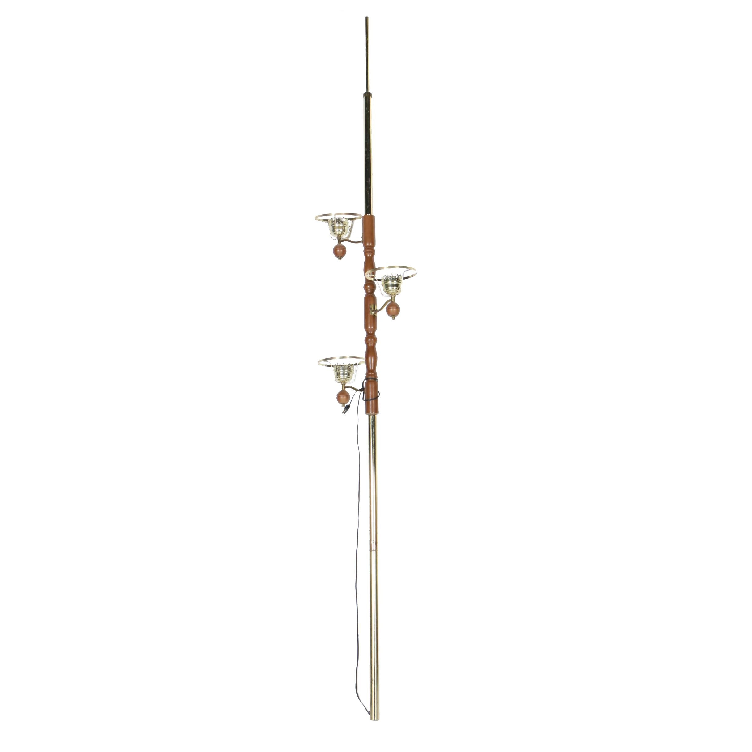 Portable Brass and Wood Floor Lamp