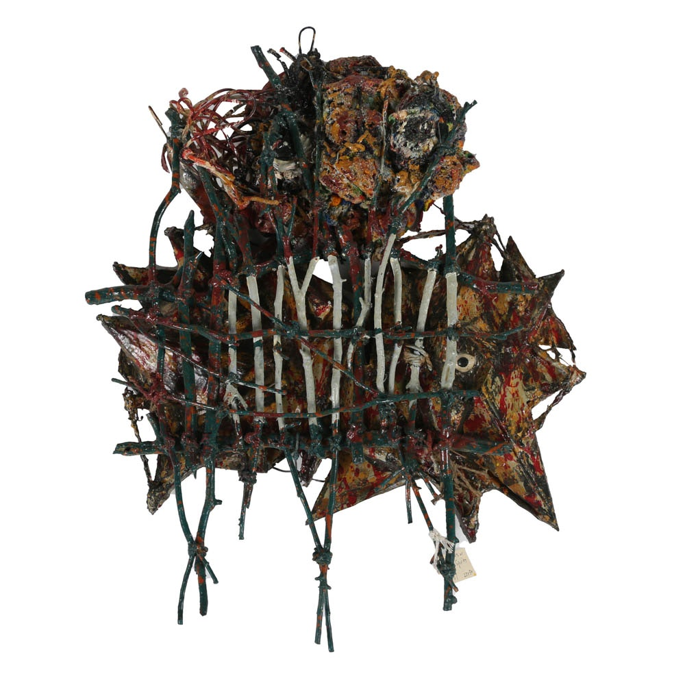 "Frank Kowing Mixed Media Sculpture ""Two Devils Or Evil Spirits"""