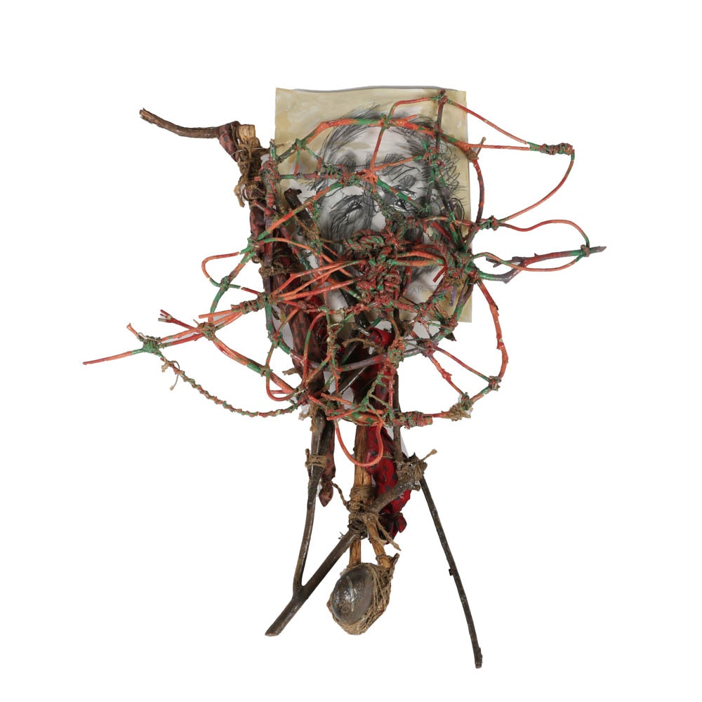 "Frank Kowing Mixed Media Sculpture ""Meaner Than a Junkyard Dog"""