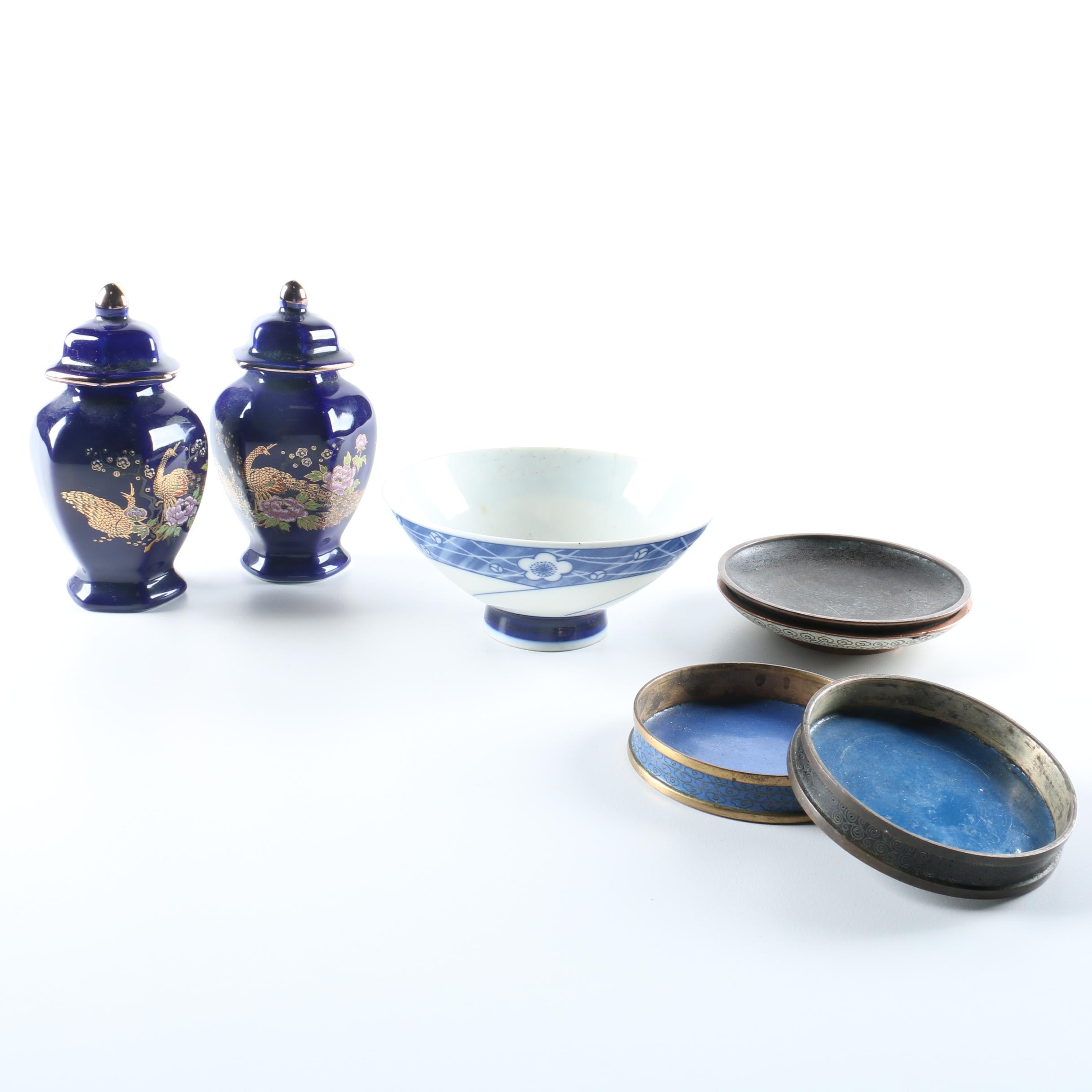 Collection of Japanese Decor Including Cloisonne