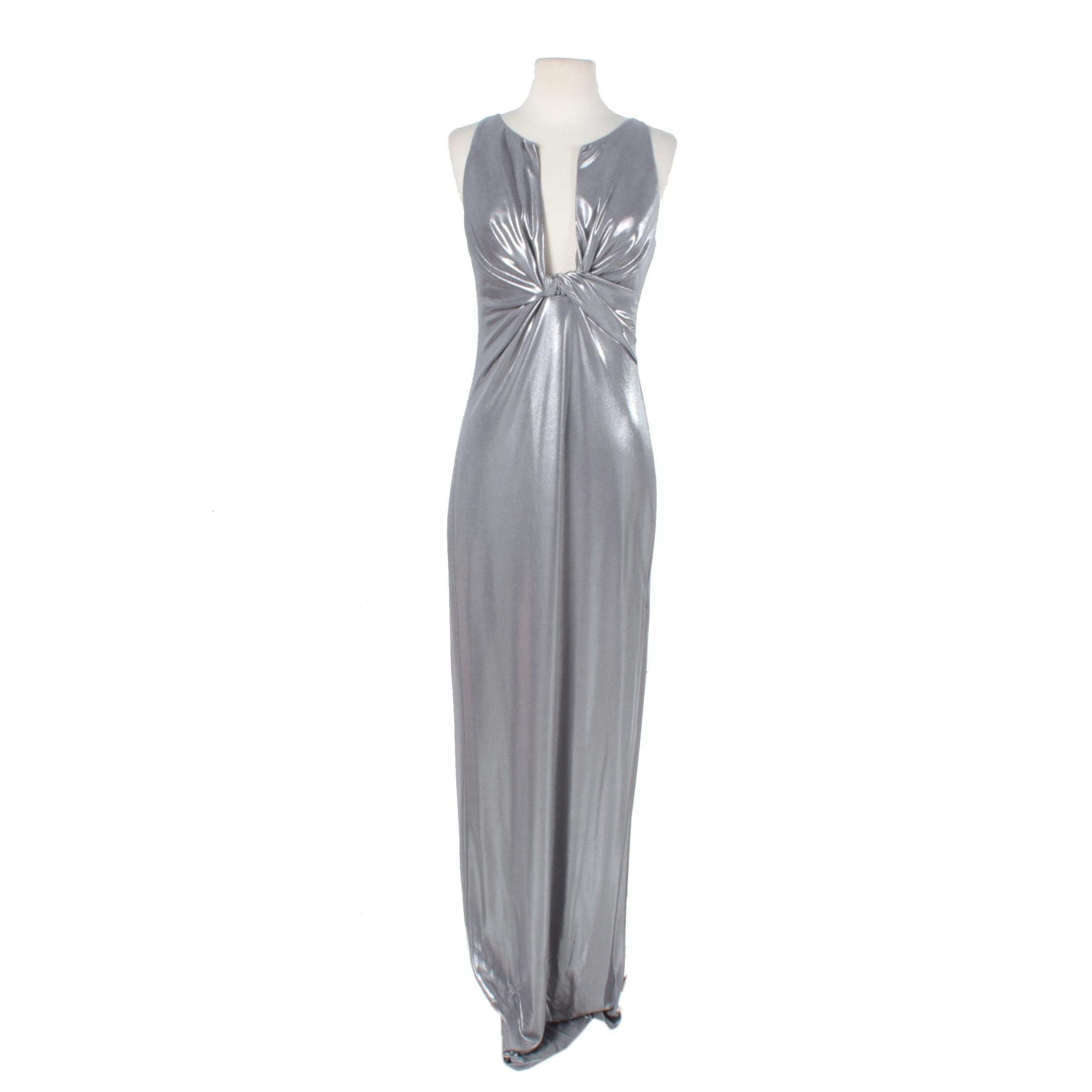 Halston Heritage Silver Lame Plunge Evening Gown