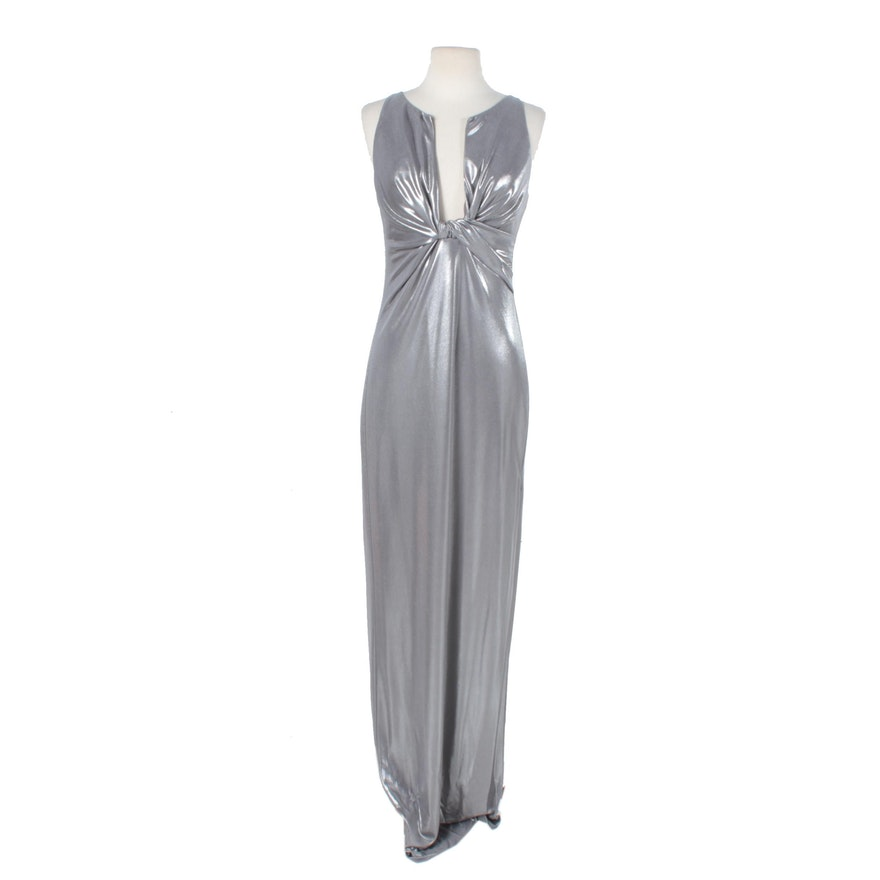 Halston Heritage Silver Lame Plunge Evening Gown : EBTH