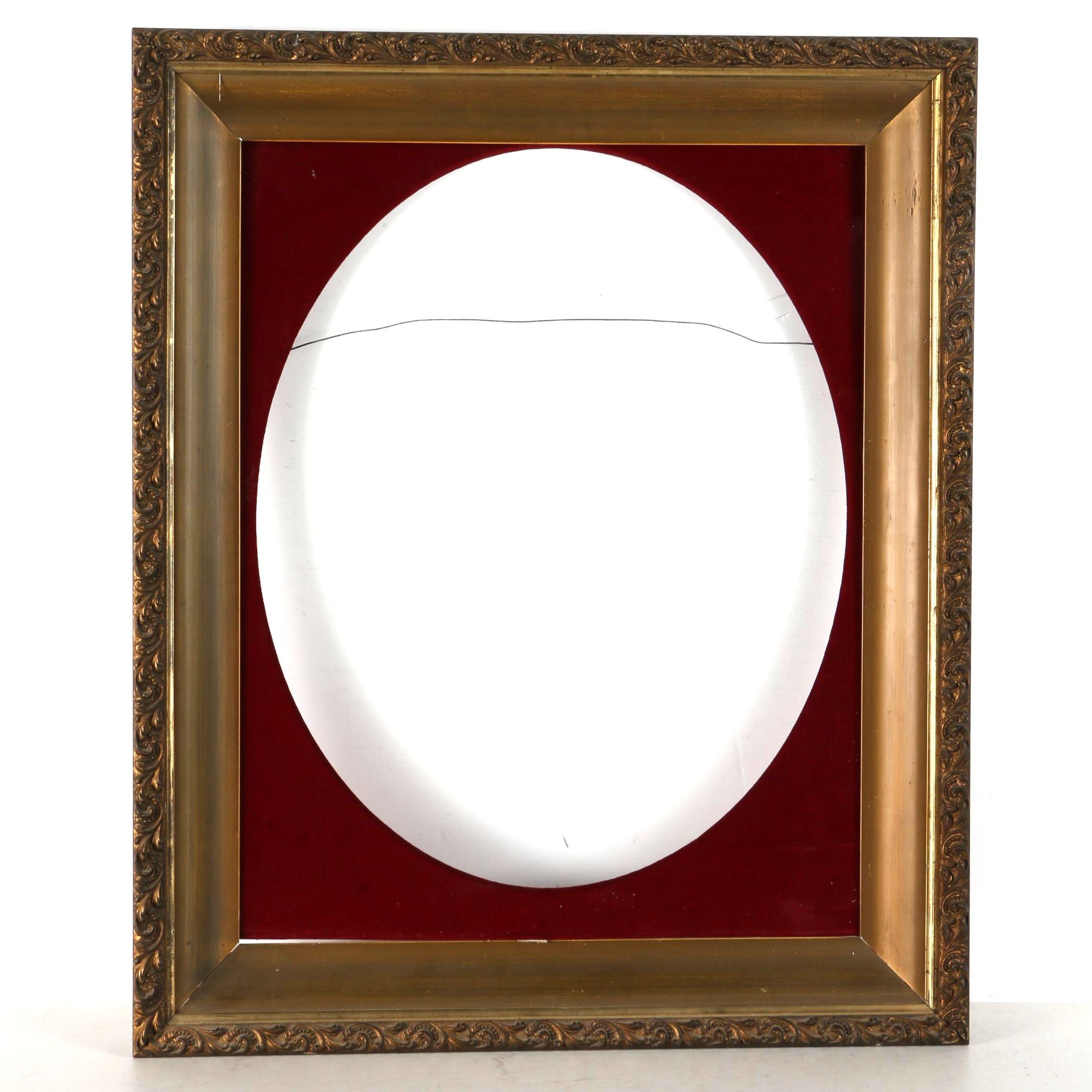 Wood and Gesso Picture Frame with Oval Liner