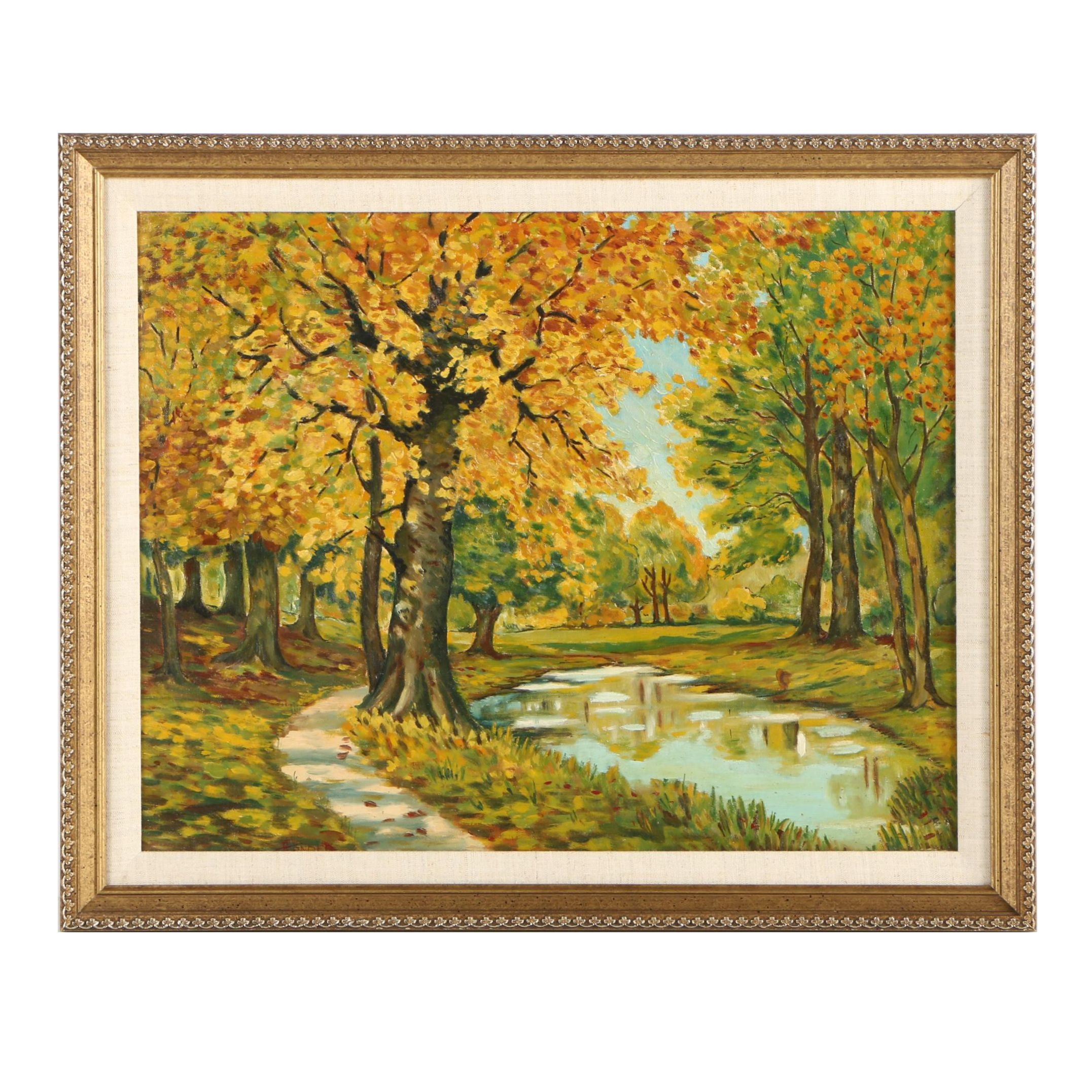 Irwin J. Sander Oil Painting of an Autumnal Landscape