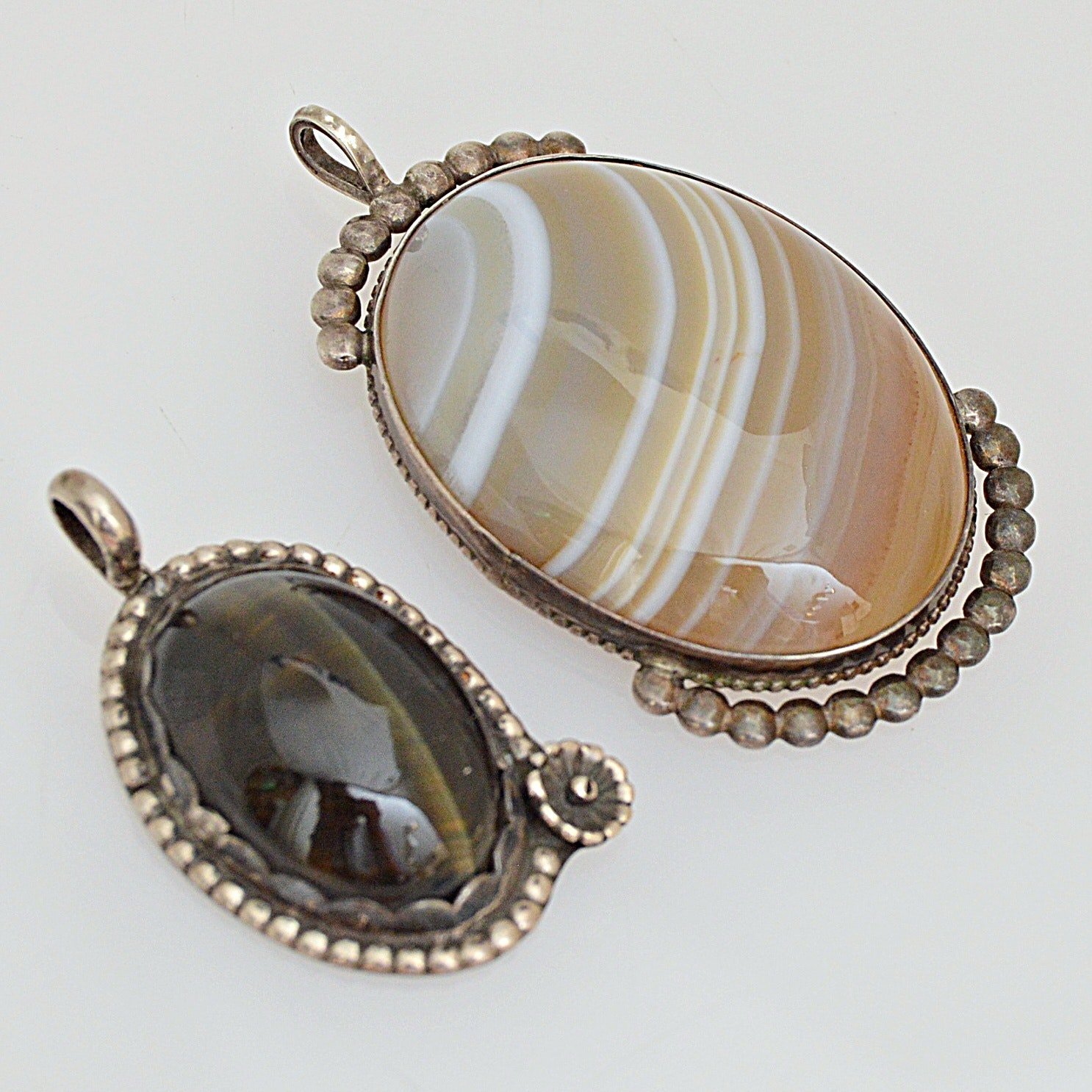 Vintage Sterling Silver, Agate and Tiger's Eye Pendants