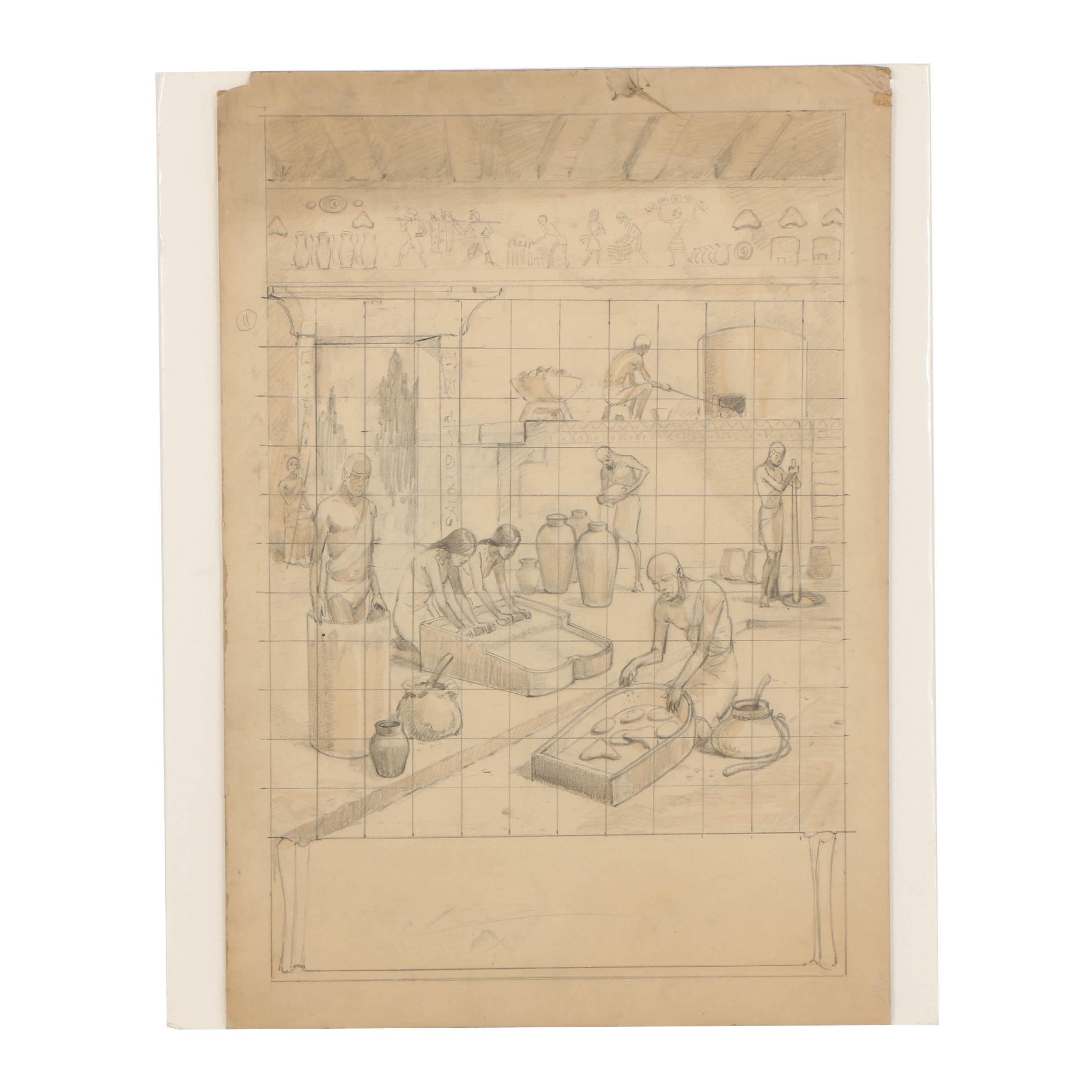 Graphite Drawing on Board of Figurative Scene