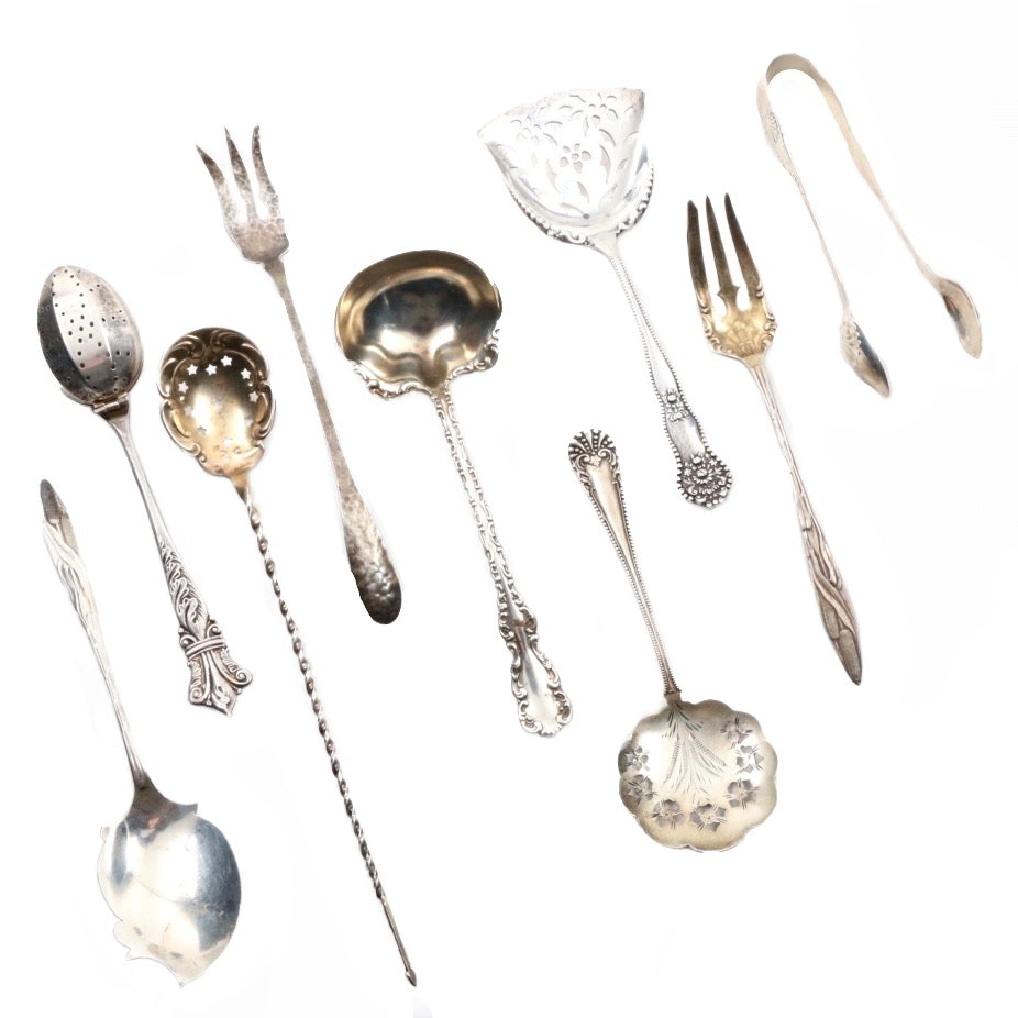Collection of Antique Sterling Silver Serving Spoons and Forks