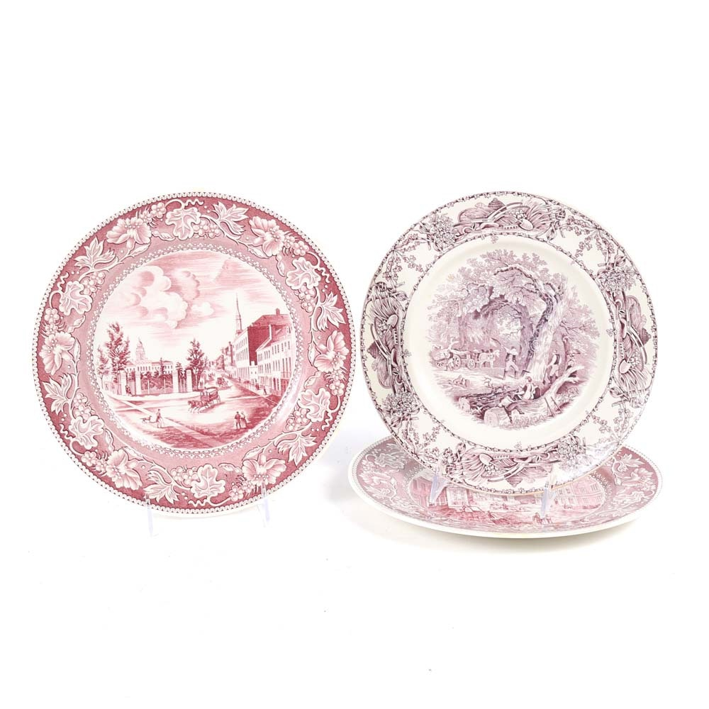 Vintage Wall Plates Featuring Wedgwood Etruria and AJ Wilkinson