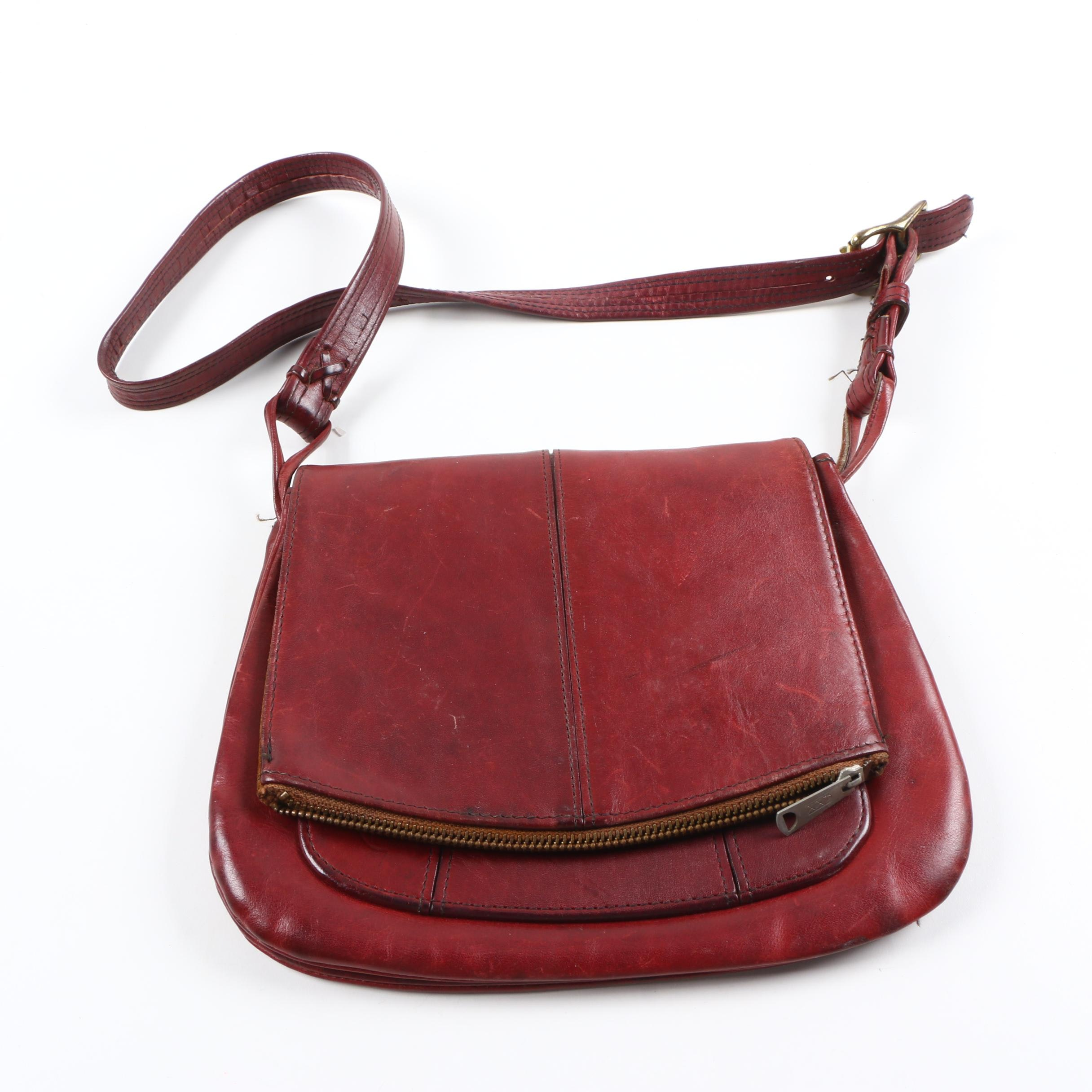 Vintage Colonial Red Leather Shoulder Bag