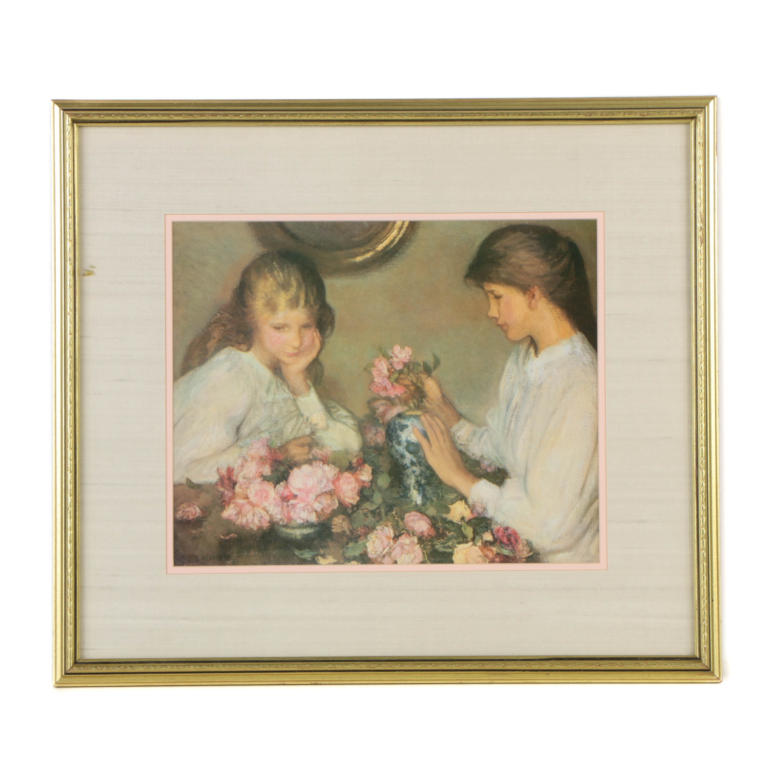 "Offset Lithograph after Sir George Clausen's ""Children and Roses"""