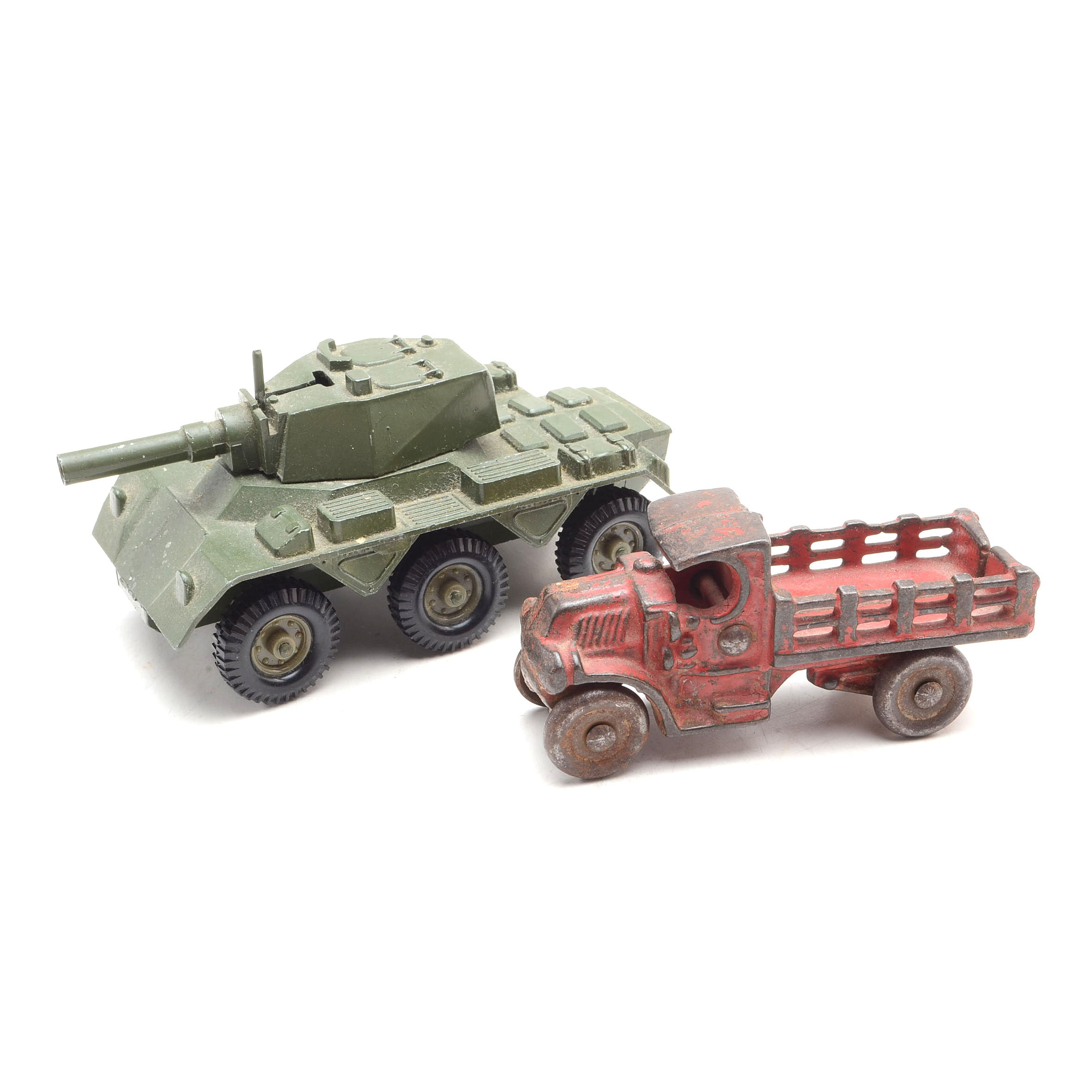 Vintage Die Cast Truck and Army Tank