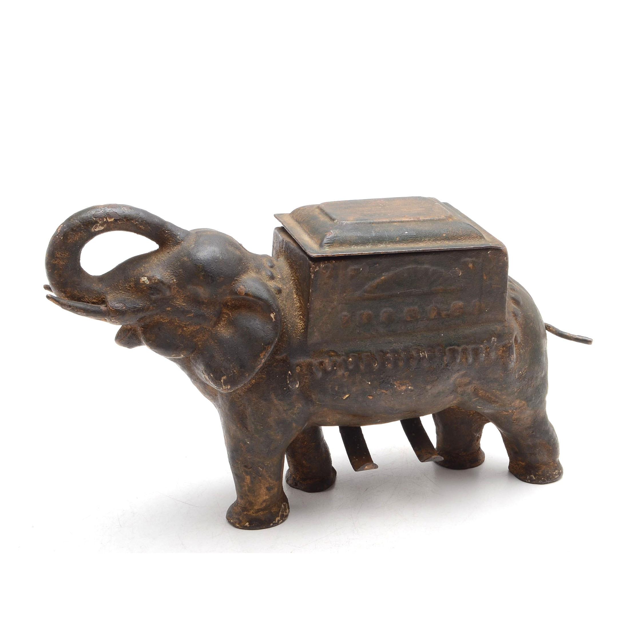 Antique Cast Iron Elephant Cigarette Dispenser