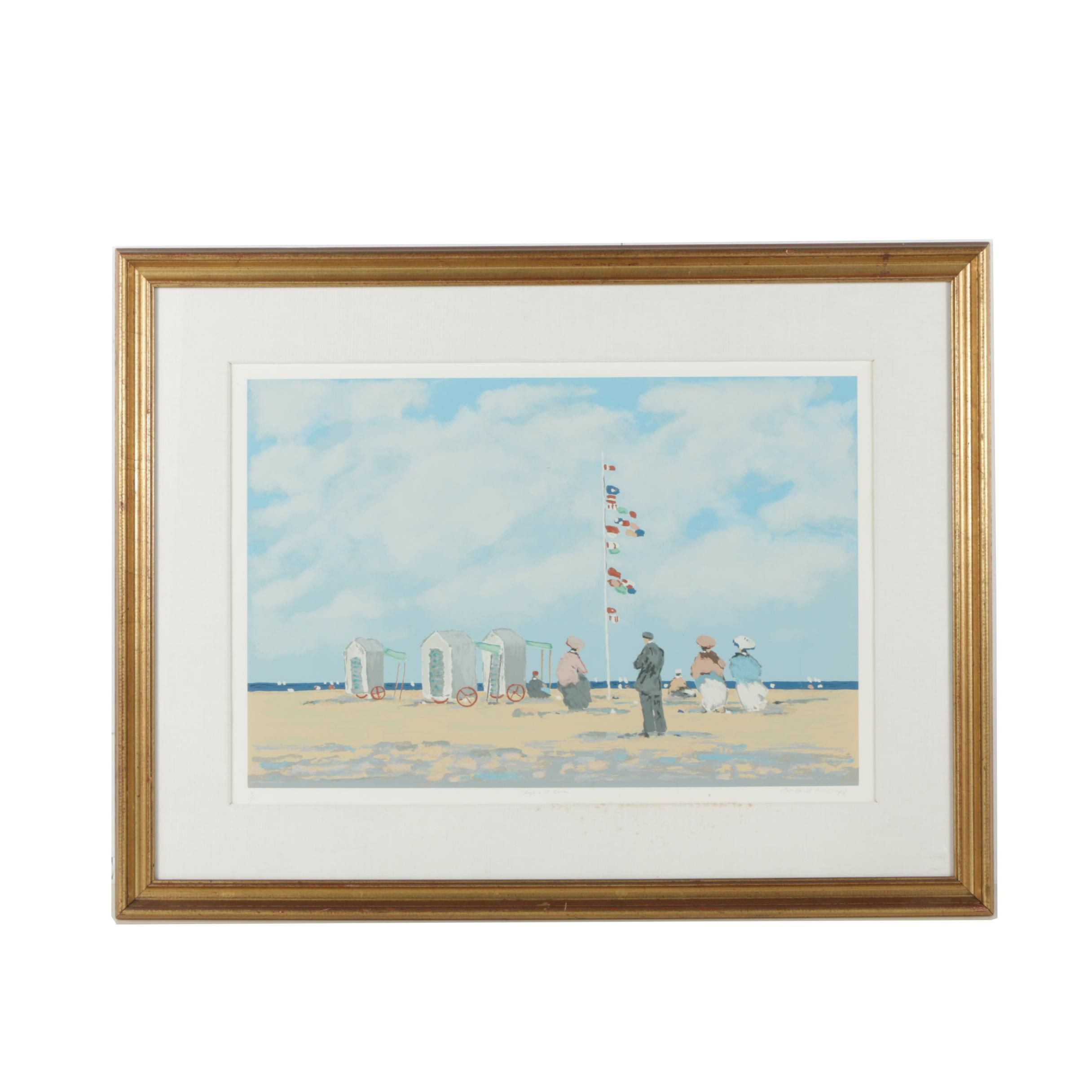 Frederick Mcduff Limited Edition Serigraph of Figures at the Beach