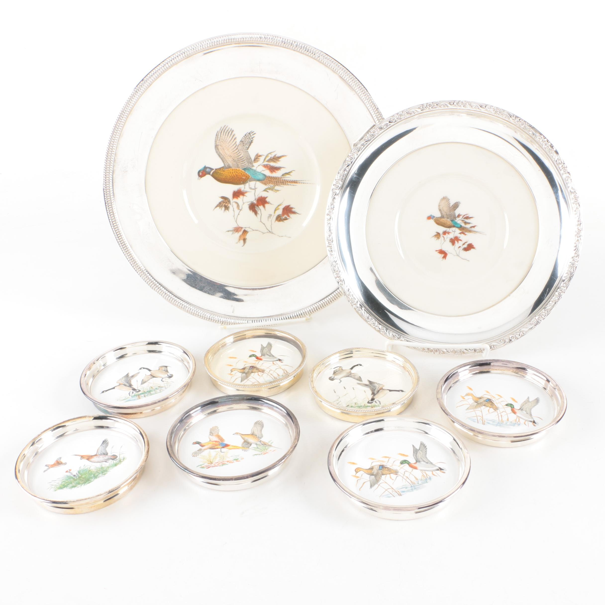 Sterling Silver and Porcelain Avian Themed Plates and Coasters
