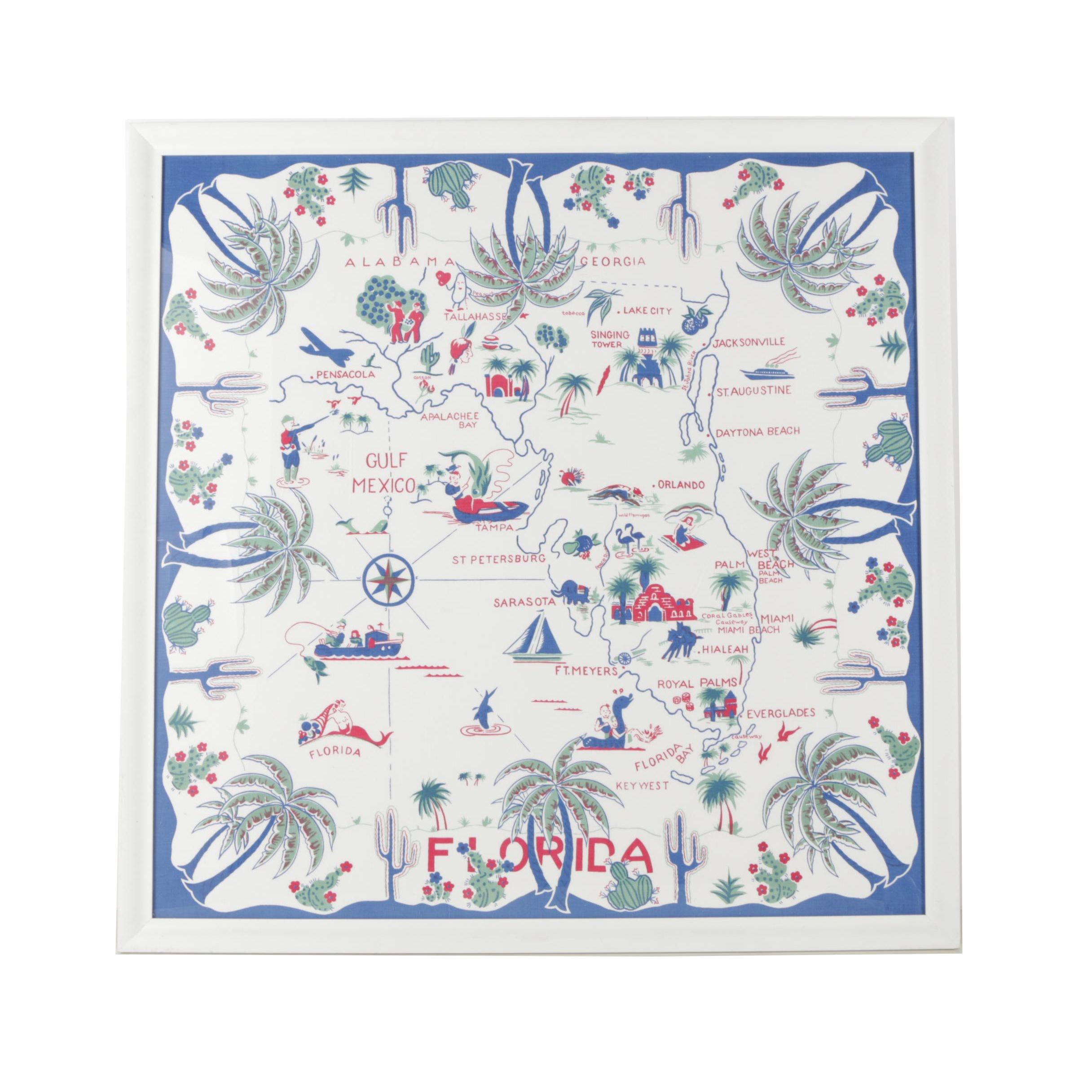 Framed Vintage Cotton Printed Tablecloth of Florida