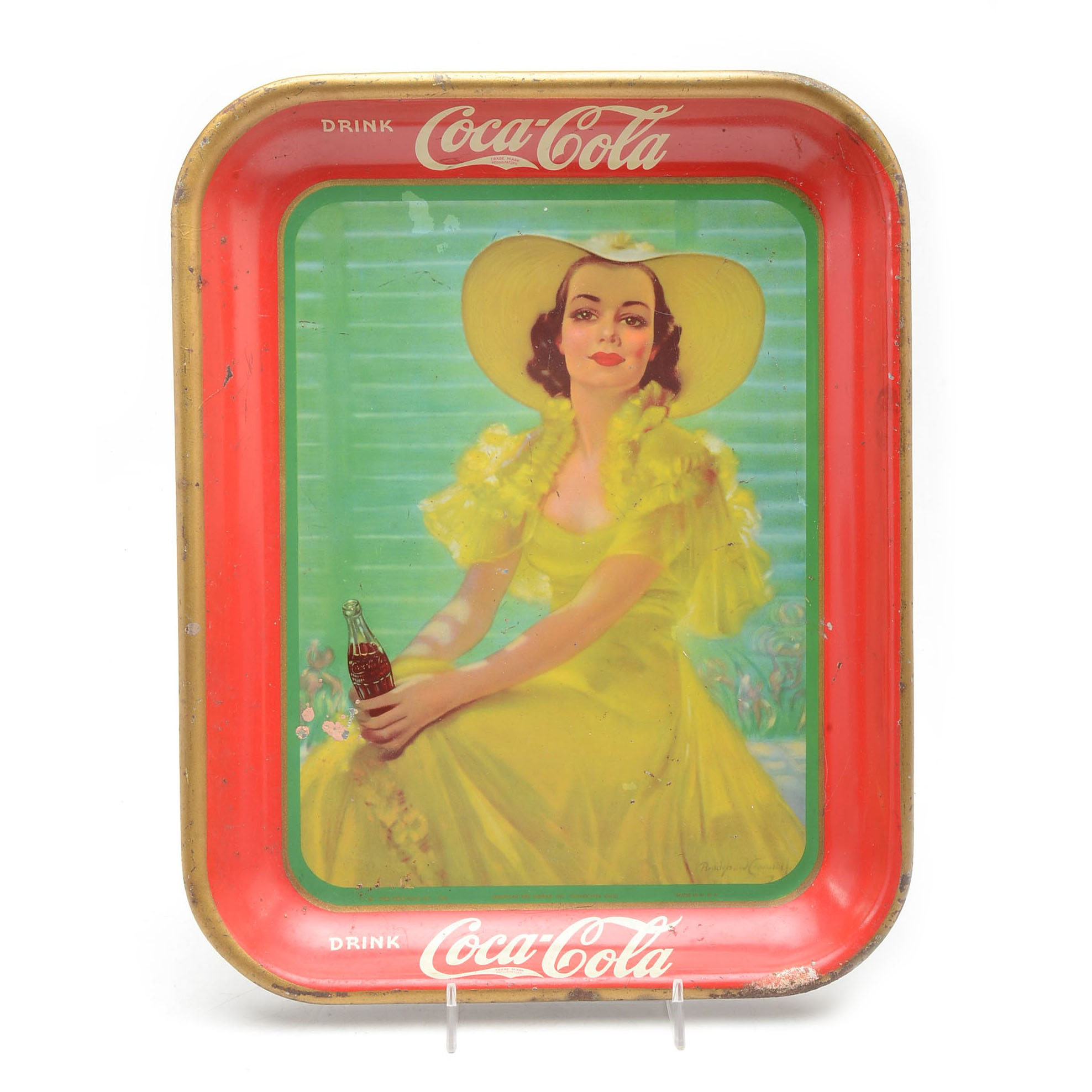 "1938 ""Drink Coca-Cola"" Metal Lithograph Serving Tray"