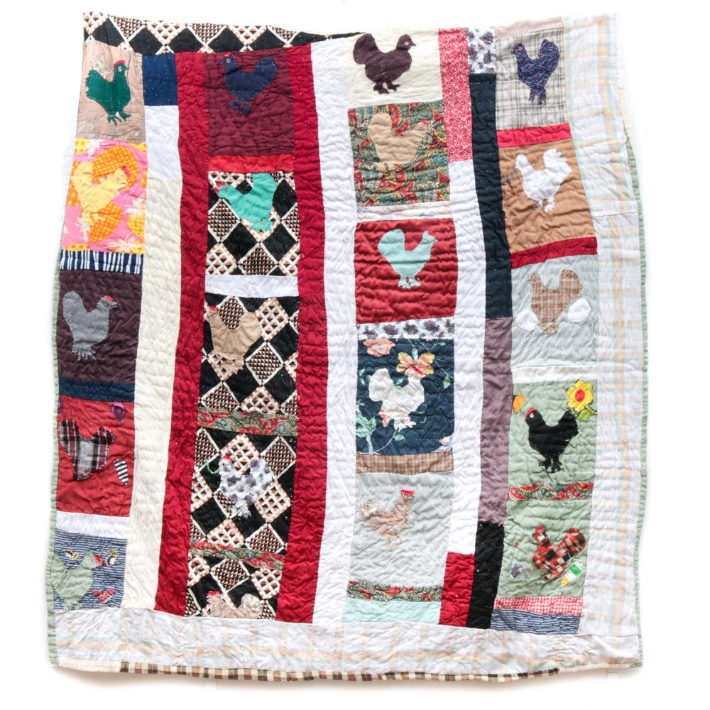 May Liza Jackson Hand Appliquéd Chicken Quilt