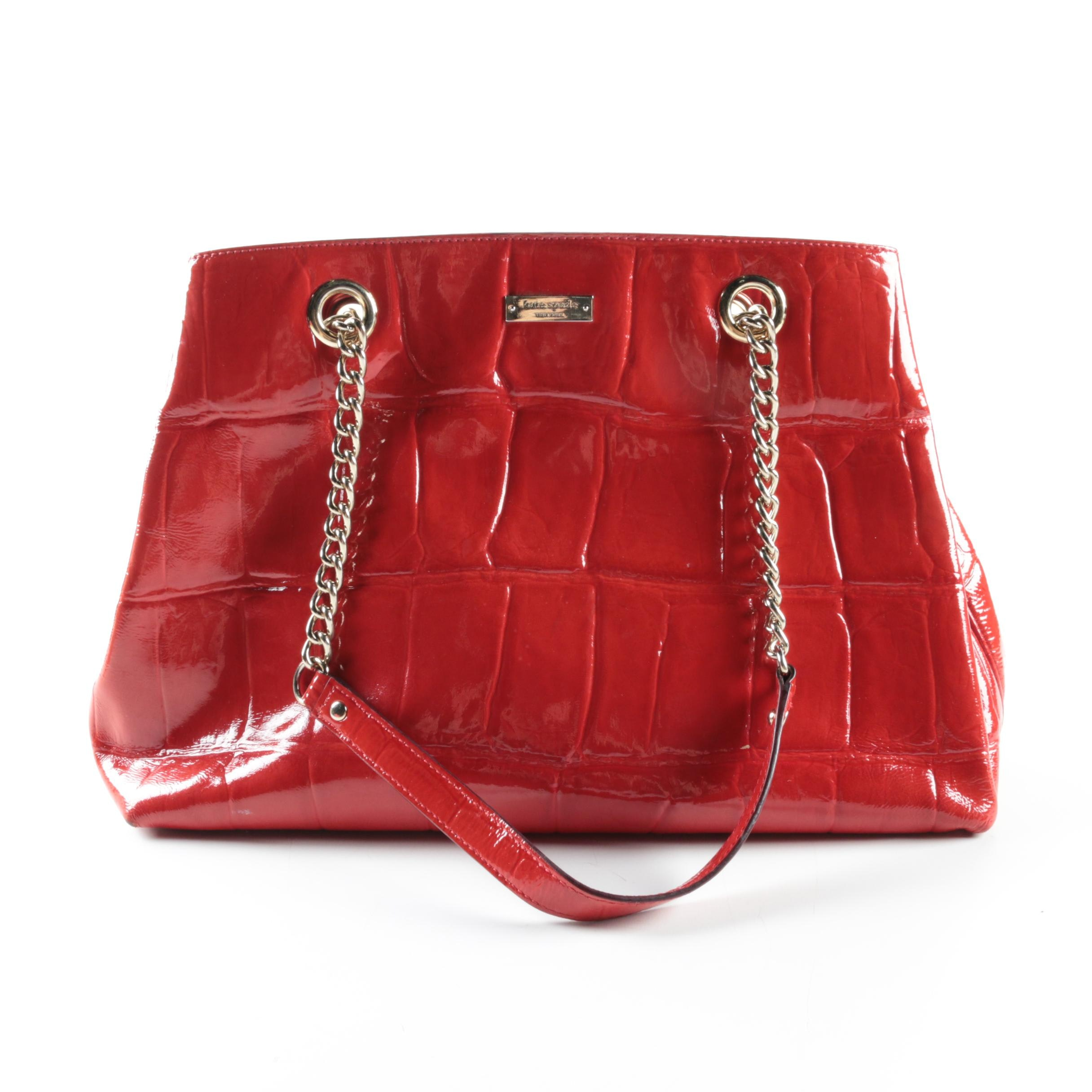 Kate Spade New York Red Crocodile Embossed Patent Leather Bag