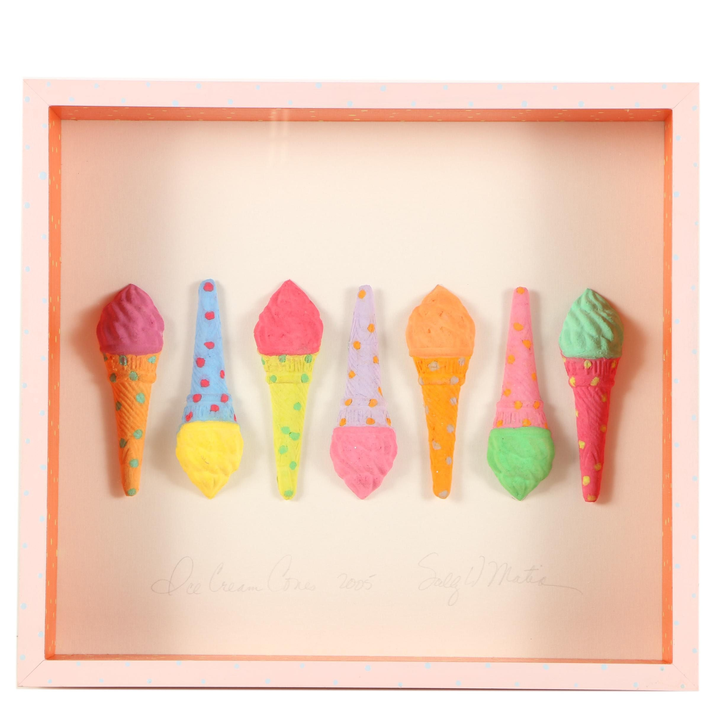 "Papier-mâché in Shadowbox ""Ice Cream Cones"""