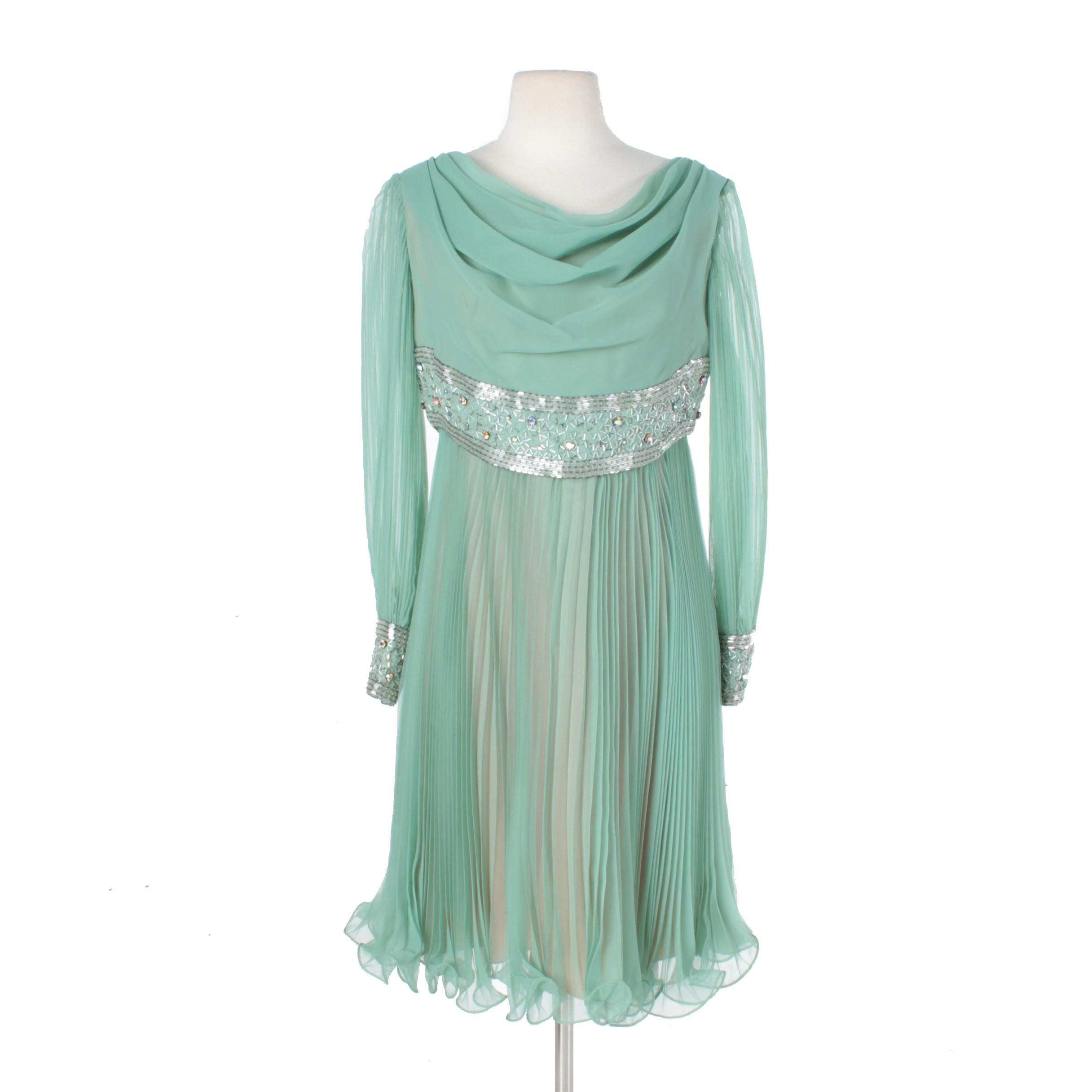 1960s Jack Bryan by Richard Du Puis Seafoam Green Rhinestone Cocktail Dress