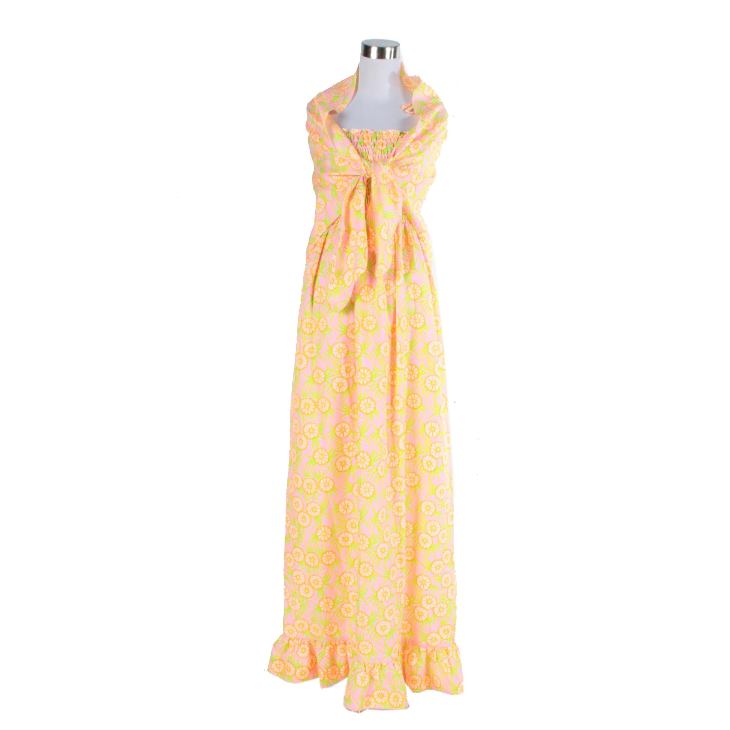 1960s The Lilly Lilly Pulitzer Pink and Orange Maxi Dress and Shawl