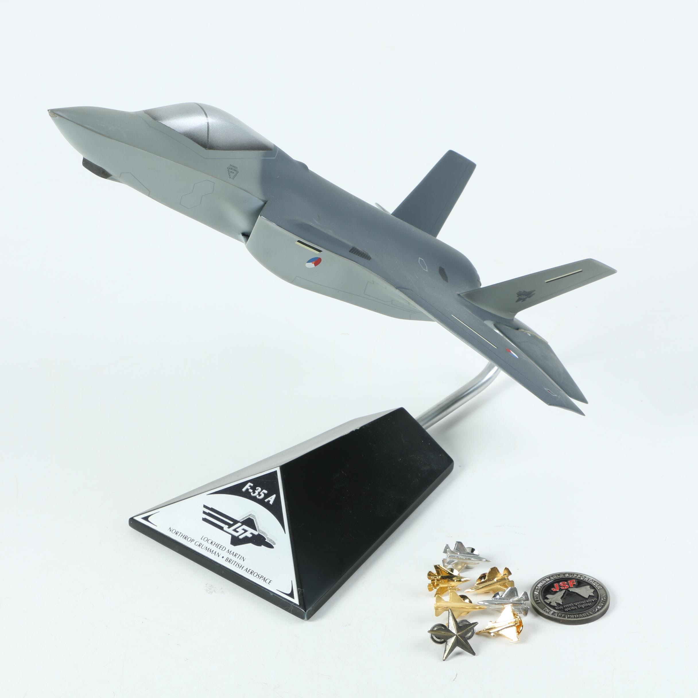 Lockheed Martin F-35A Model with Medal and Pins