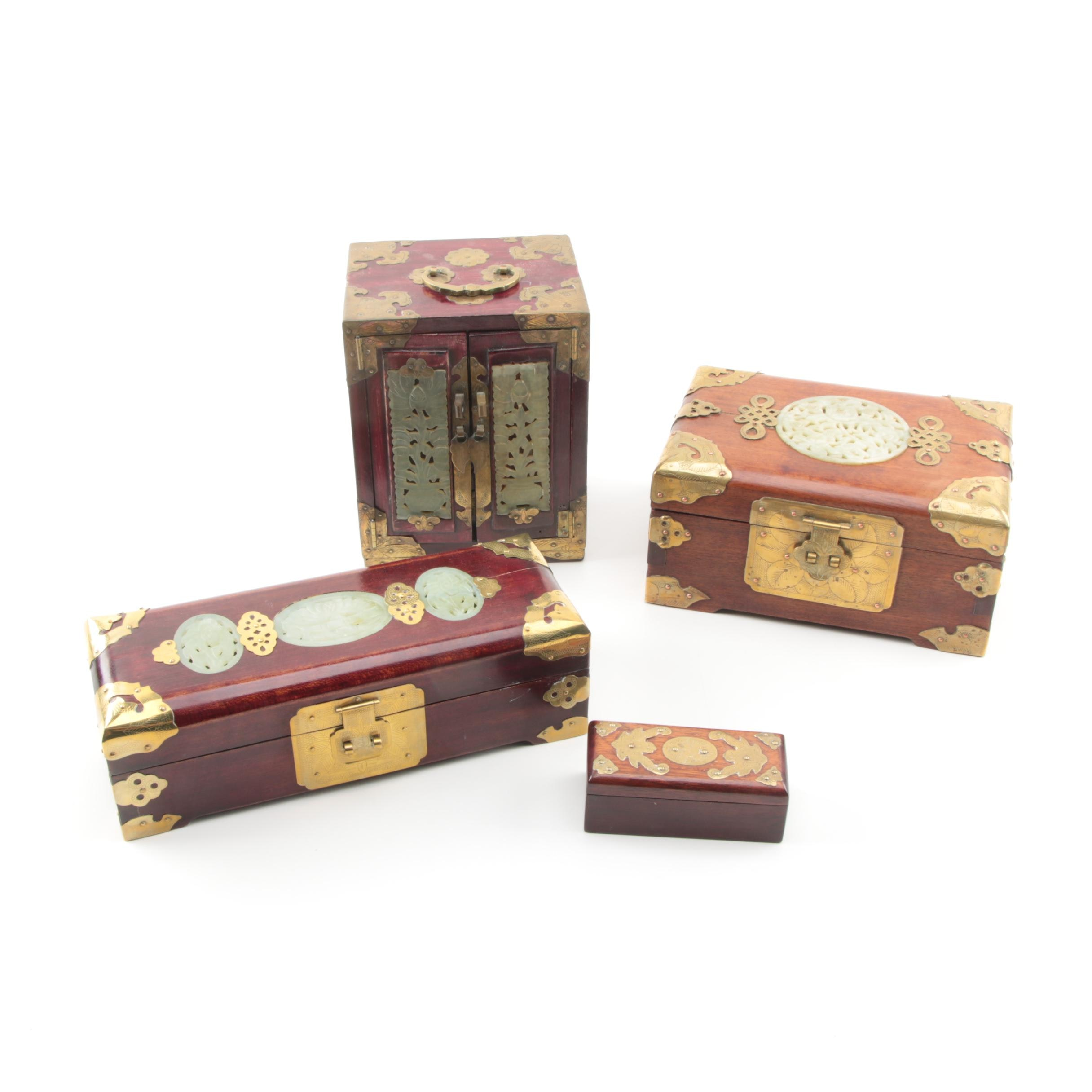 Chinese Bowenite and Brass Wooden Jewelry Boxes