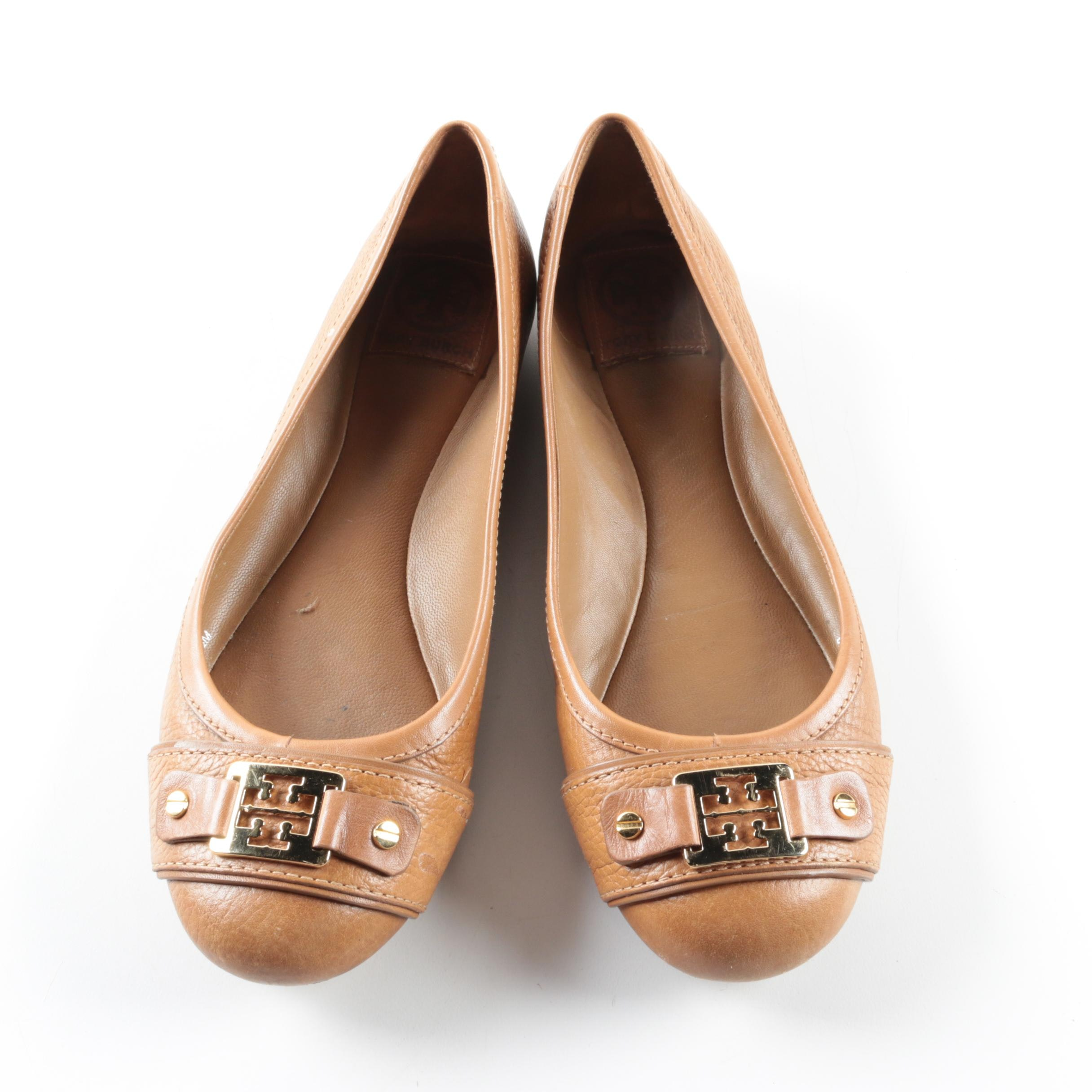 Tory Burch Clines Tan Leather Ballet Flats