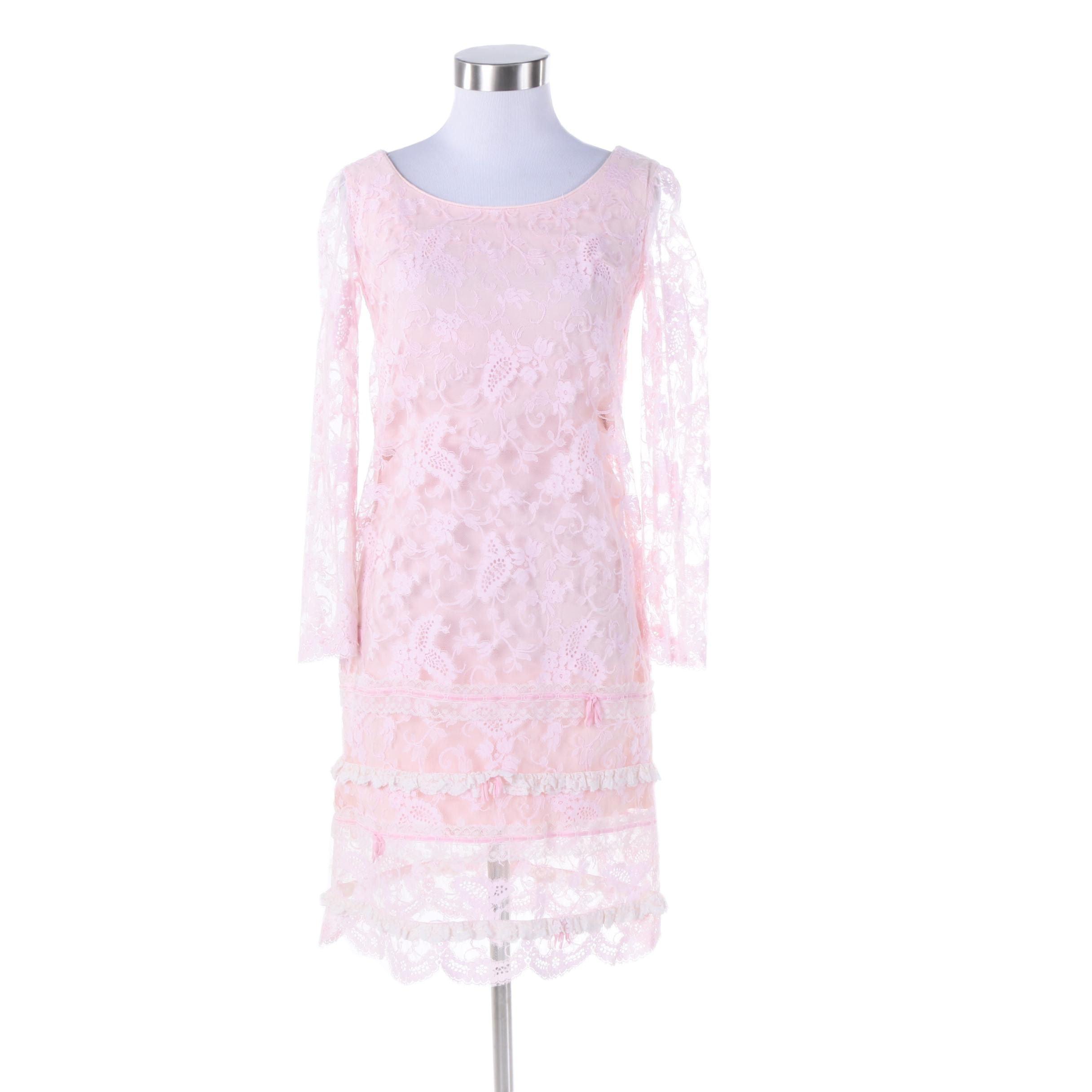 1970s Geoffrey Beene Boutique Pink Lace Mod Dress
