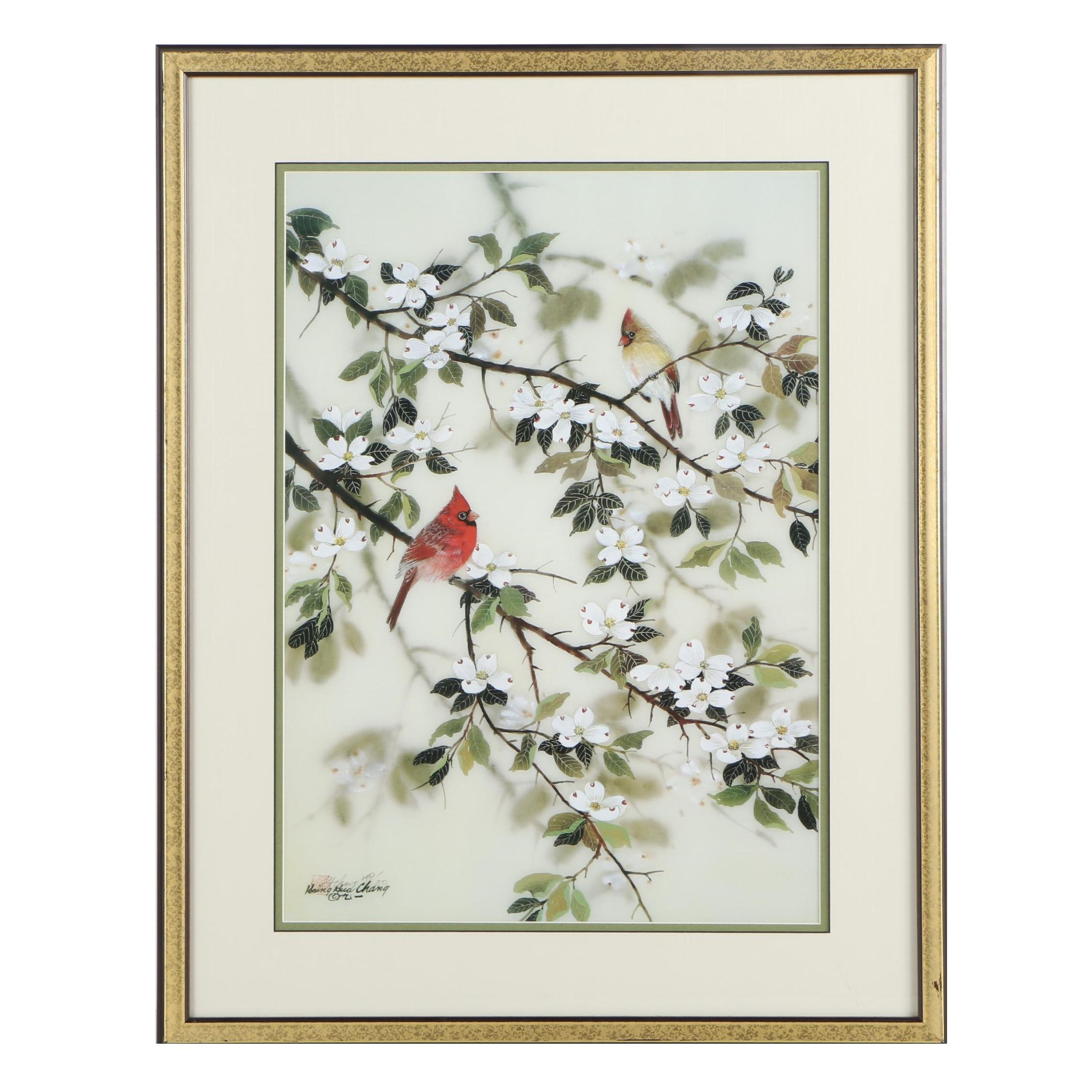 Hsing-Hua Chang Signed Limited Edition Offset Lithograph of Cardinals
