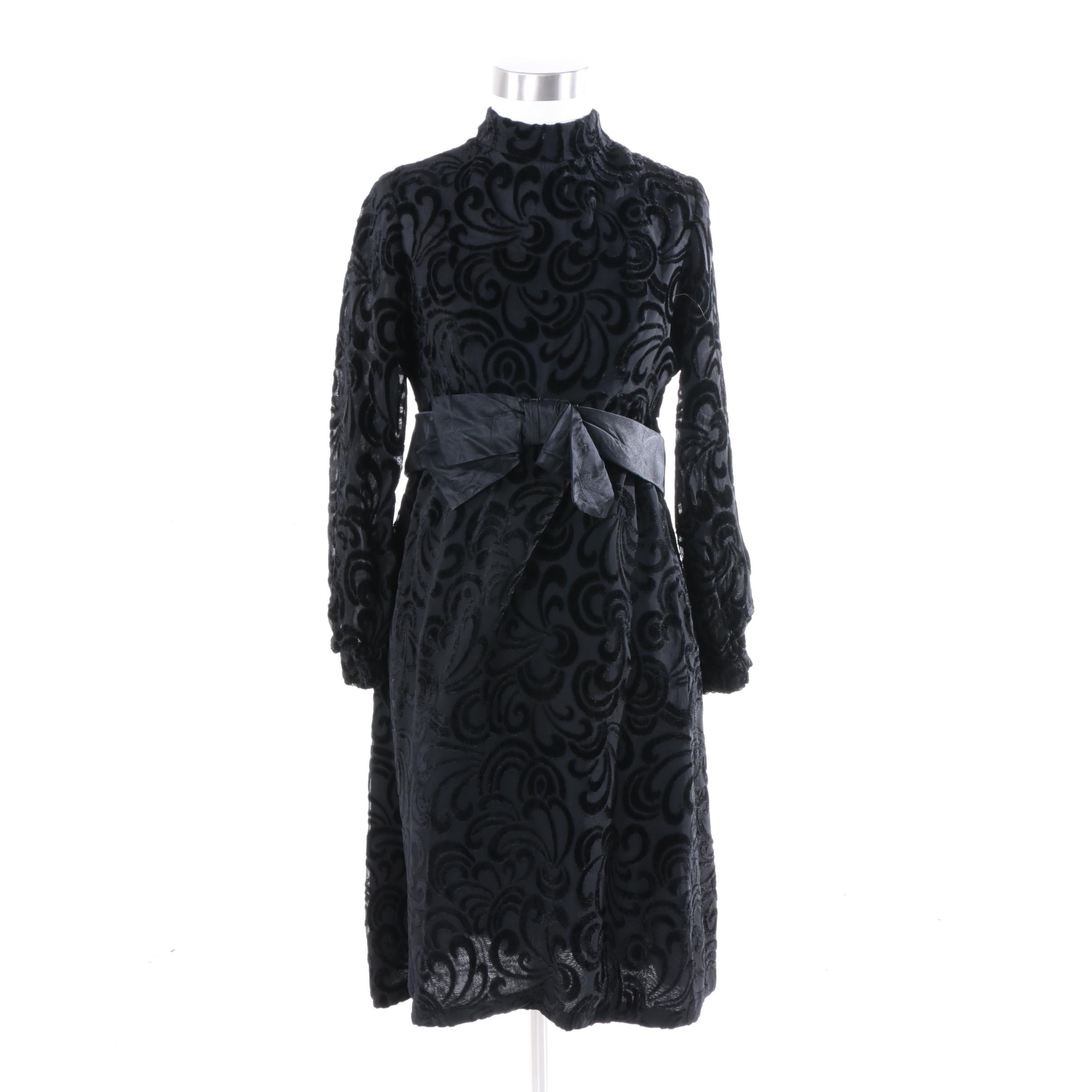 1970s R.S.V.P. Neiman Marcus Black Devoré Velvet Cocktail Dress