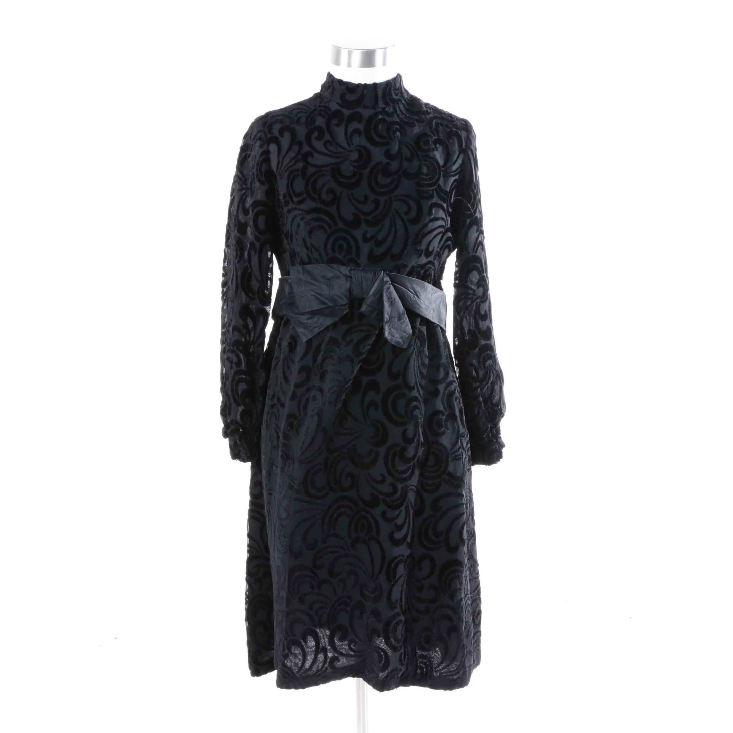 1970s R.S.V.P. Neiman Marcus Black Devoré Velvet Cocktail Dress