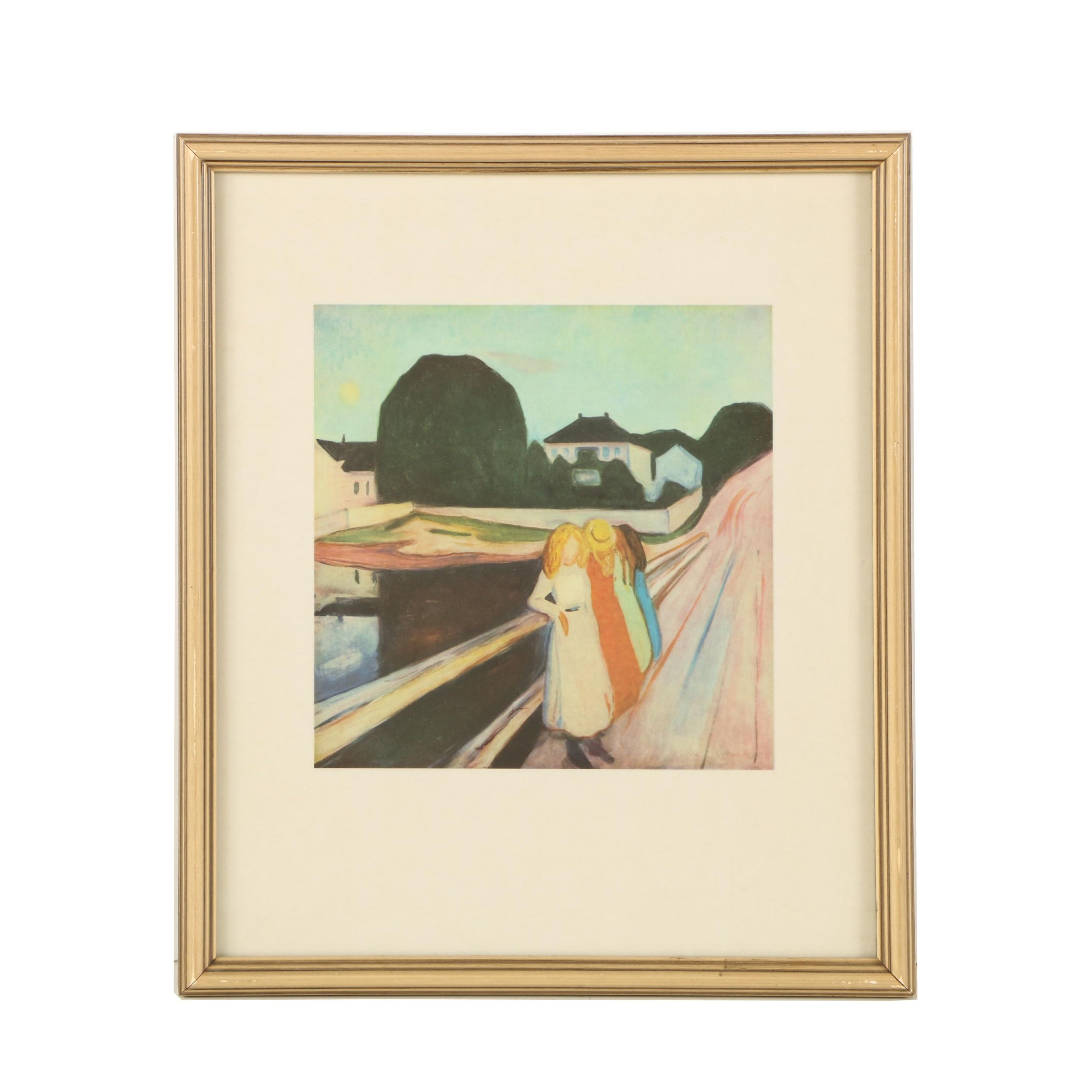 """Offset Lithograph After Edvard Munch """"The Girls on the Bridge"""""""