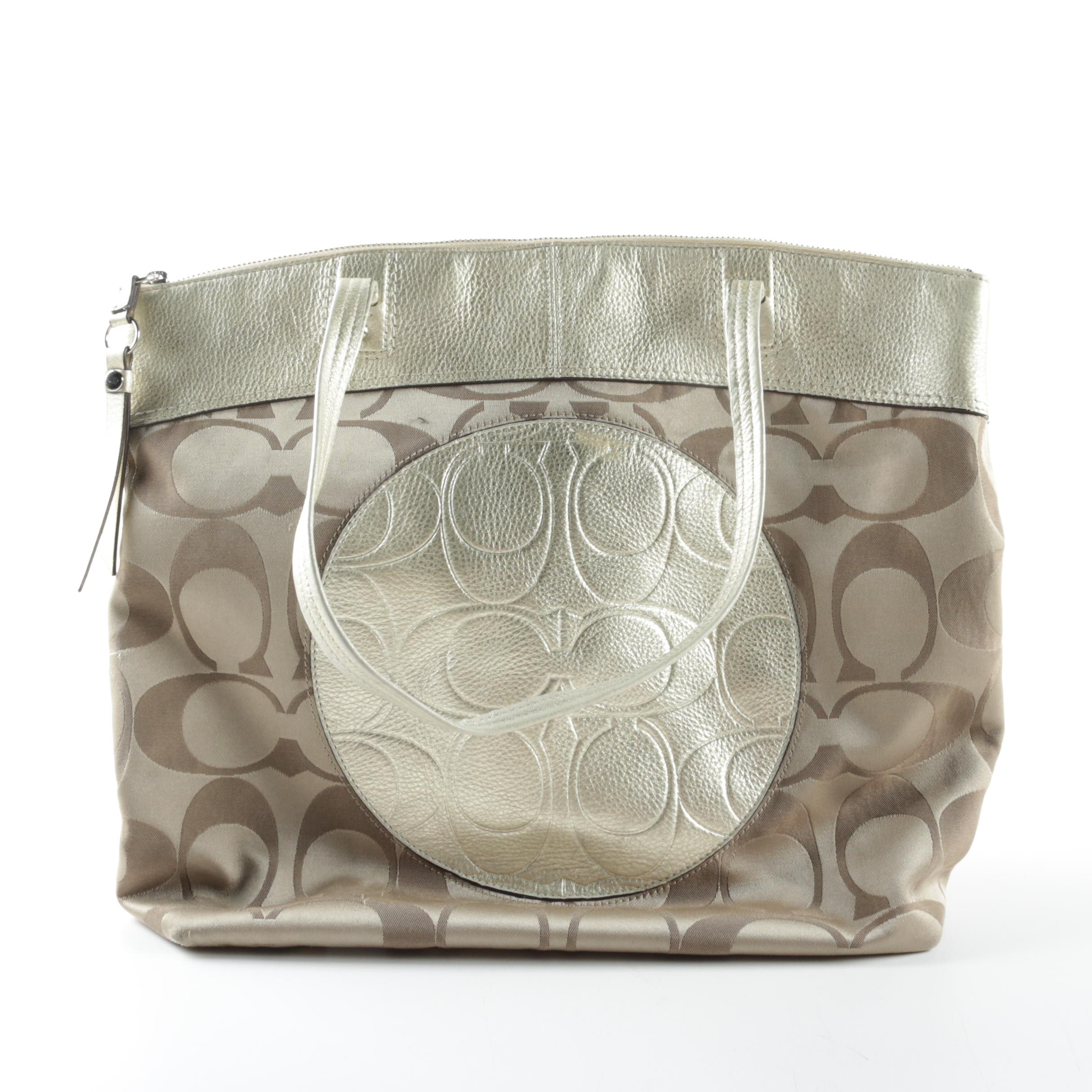 Coach Laura Signature Canvas and Metallic Leather Tote