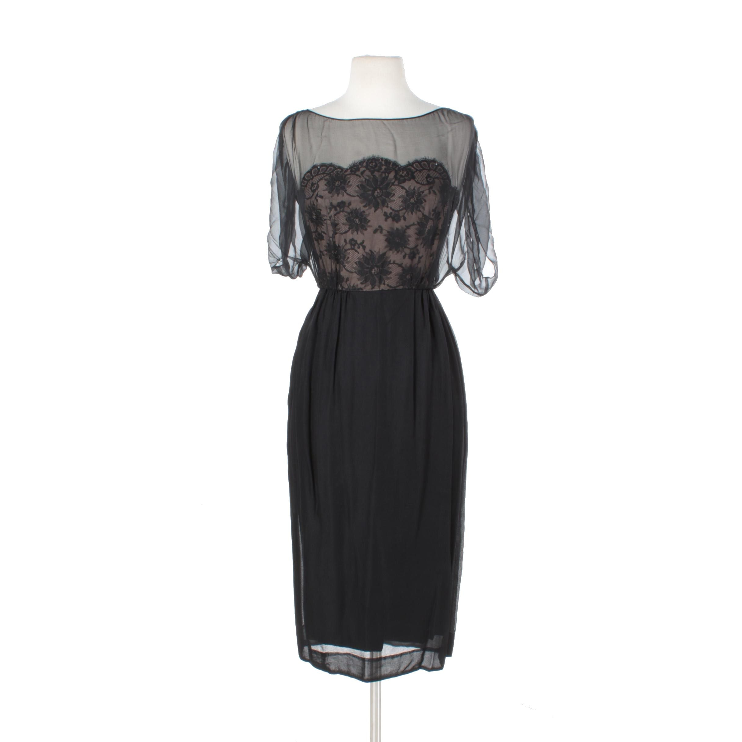 Women's 1960s Hannah Troy Black Silk Lace Evening Dress