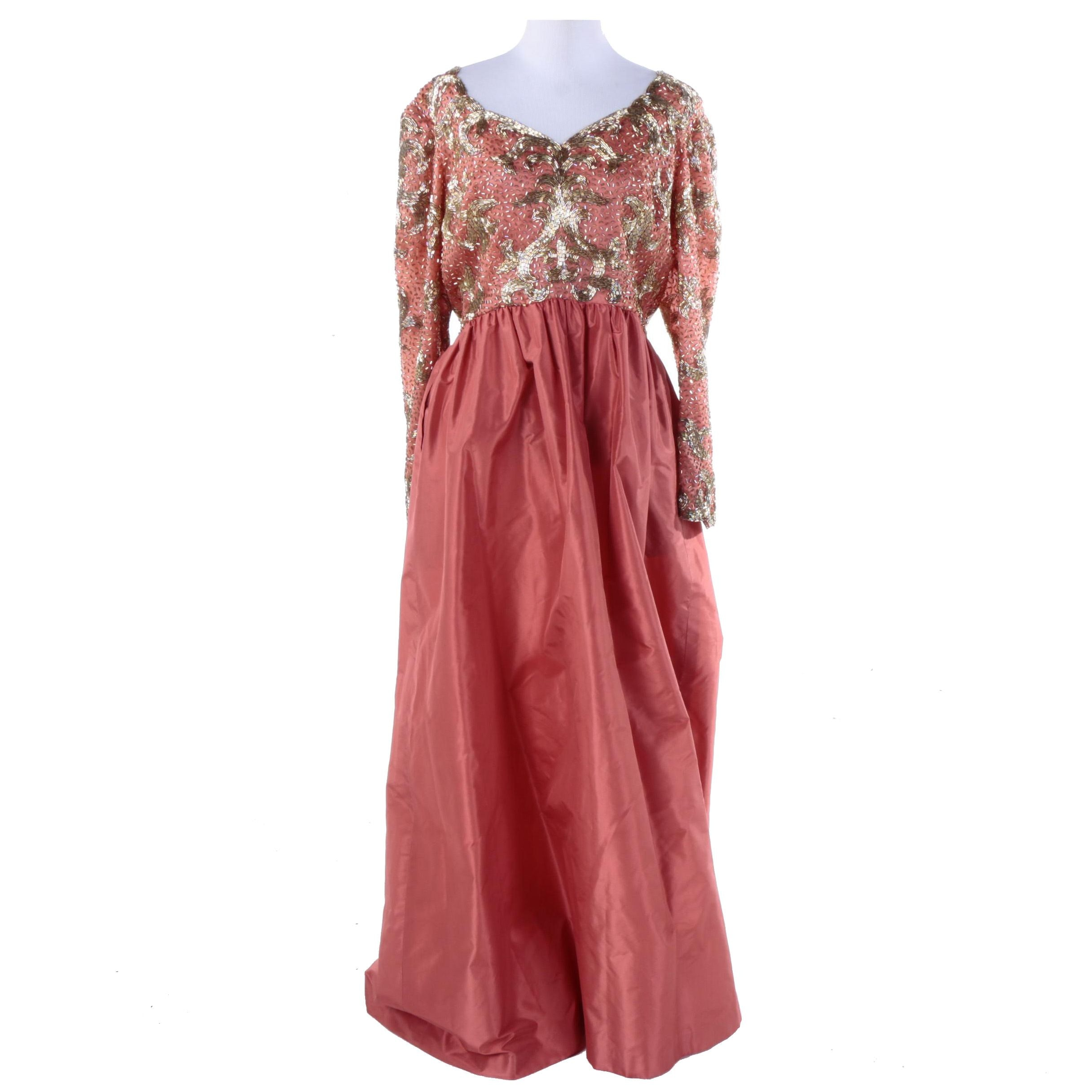 1960s Pink Satin and Gold Tone Beaded Gown