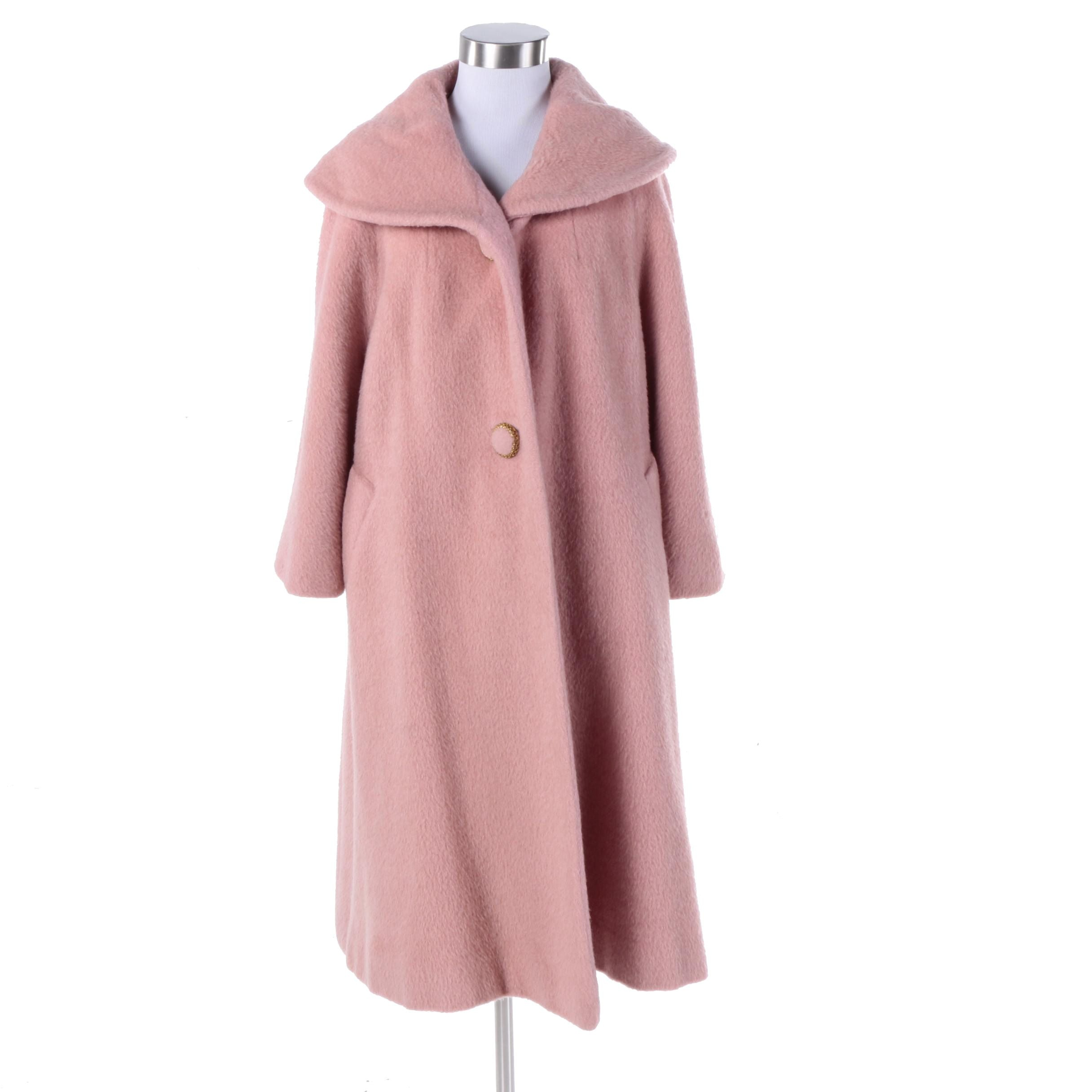1960s Tisse a Paris for Lilli Ann Paris Pink Wool Coat