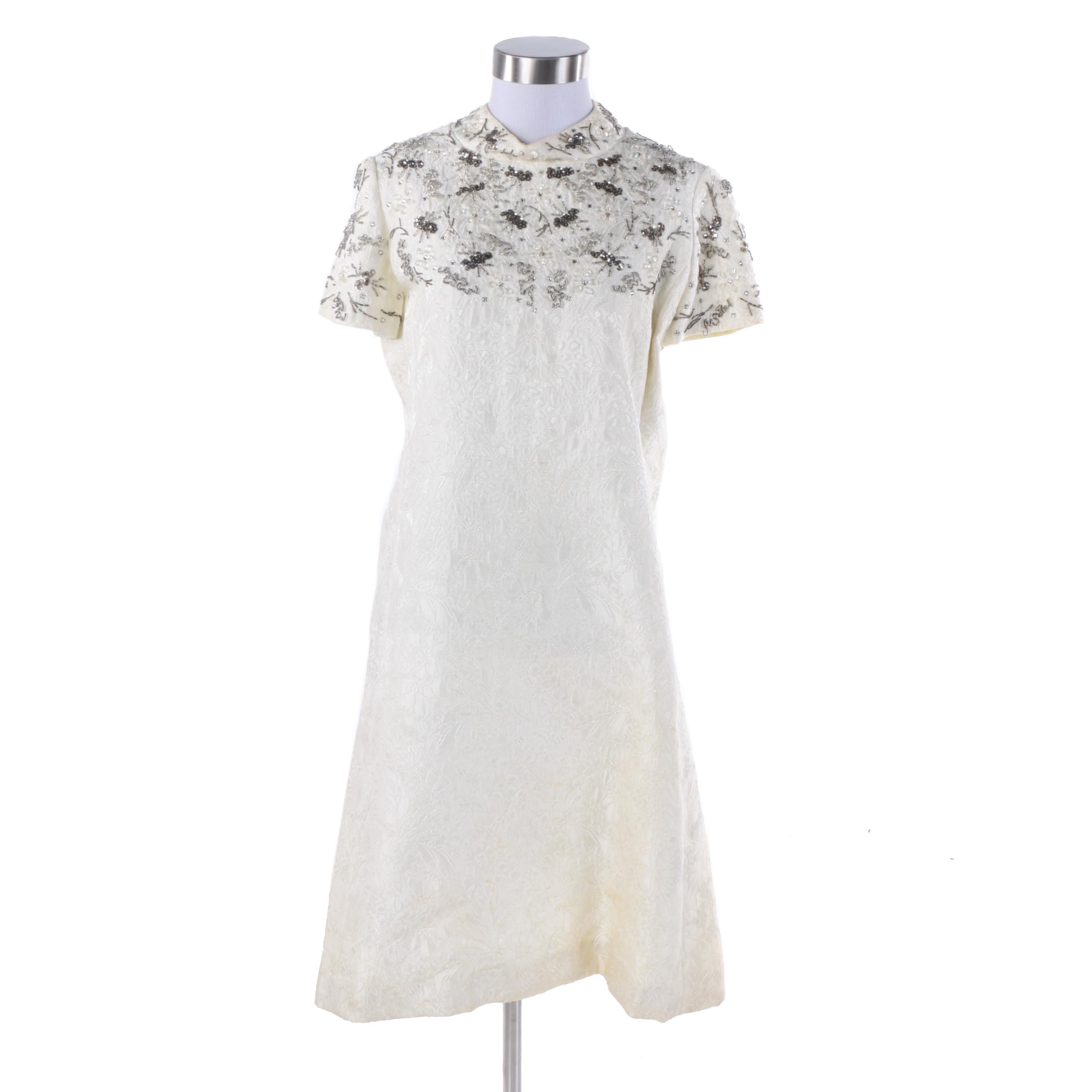 1960s R.S.V.P. Neiman Marcus Beaded Ivory Brocade Shift Dress