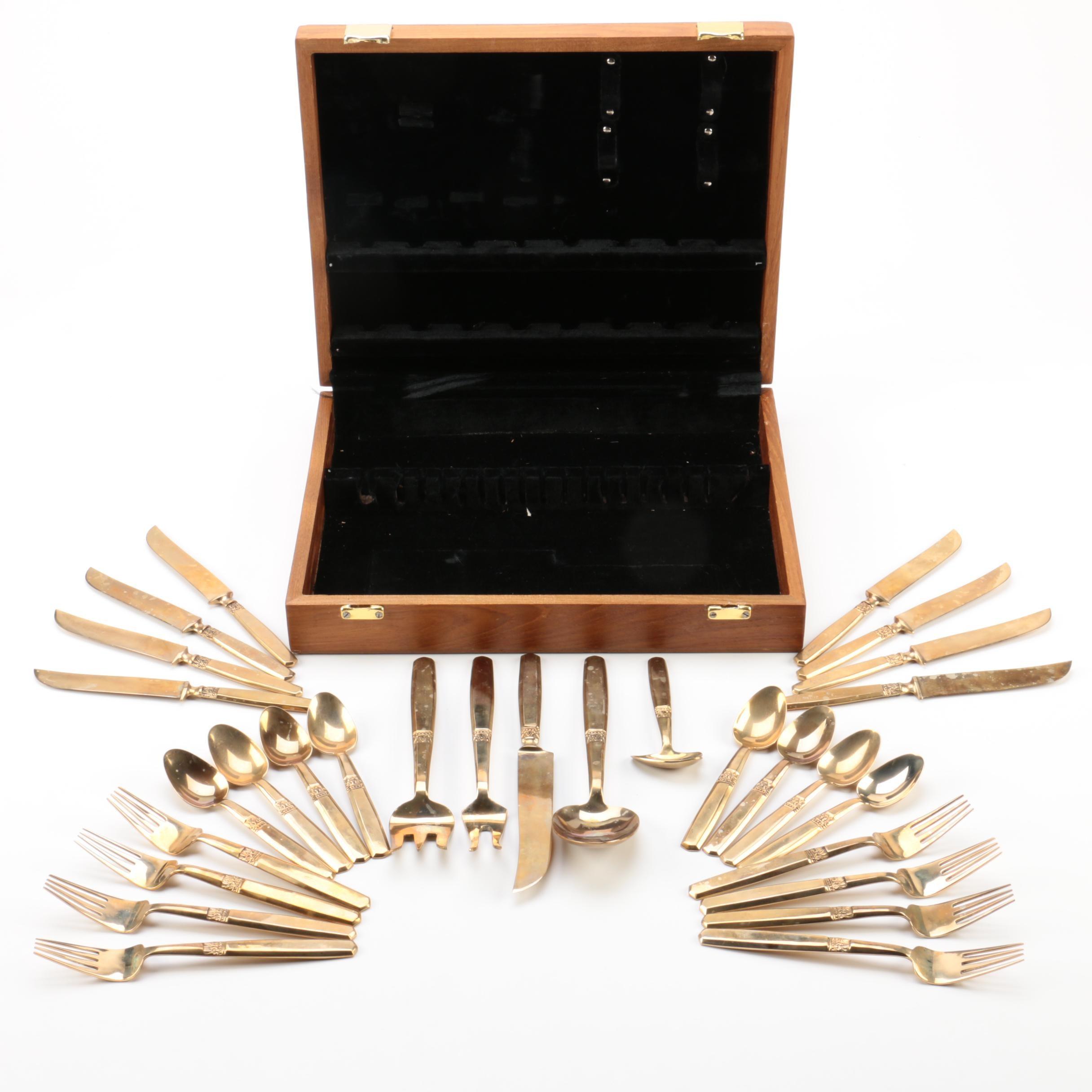 Thailand Brass Flatware Set with Wooden Flatware Storage Chest