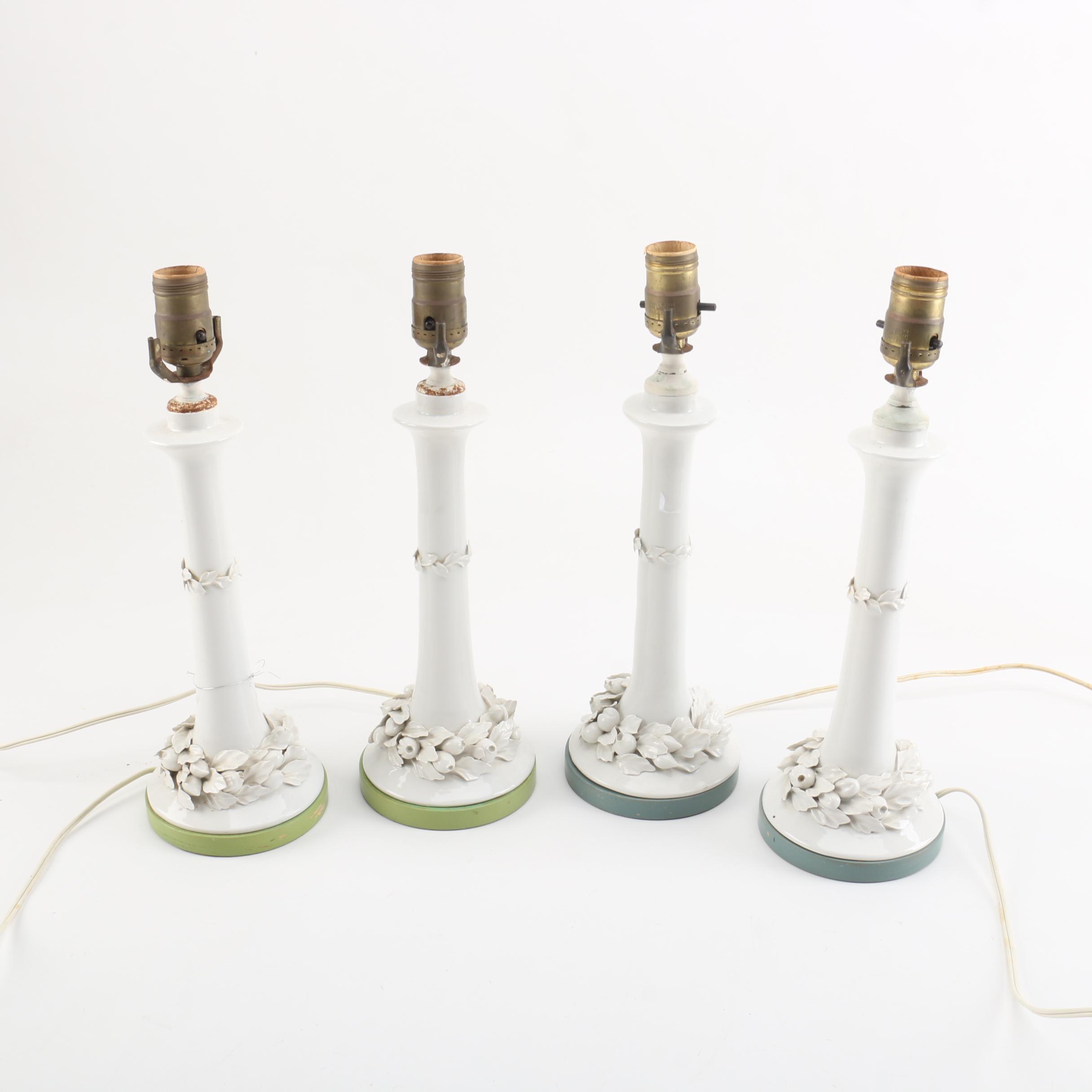Four Porcelain Candlestick Lamps
