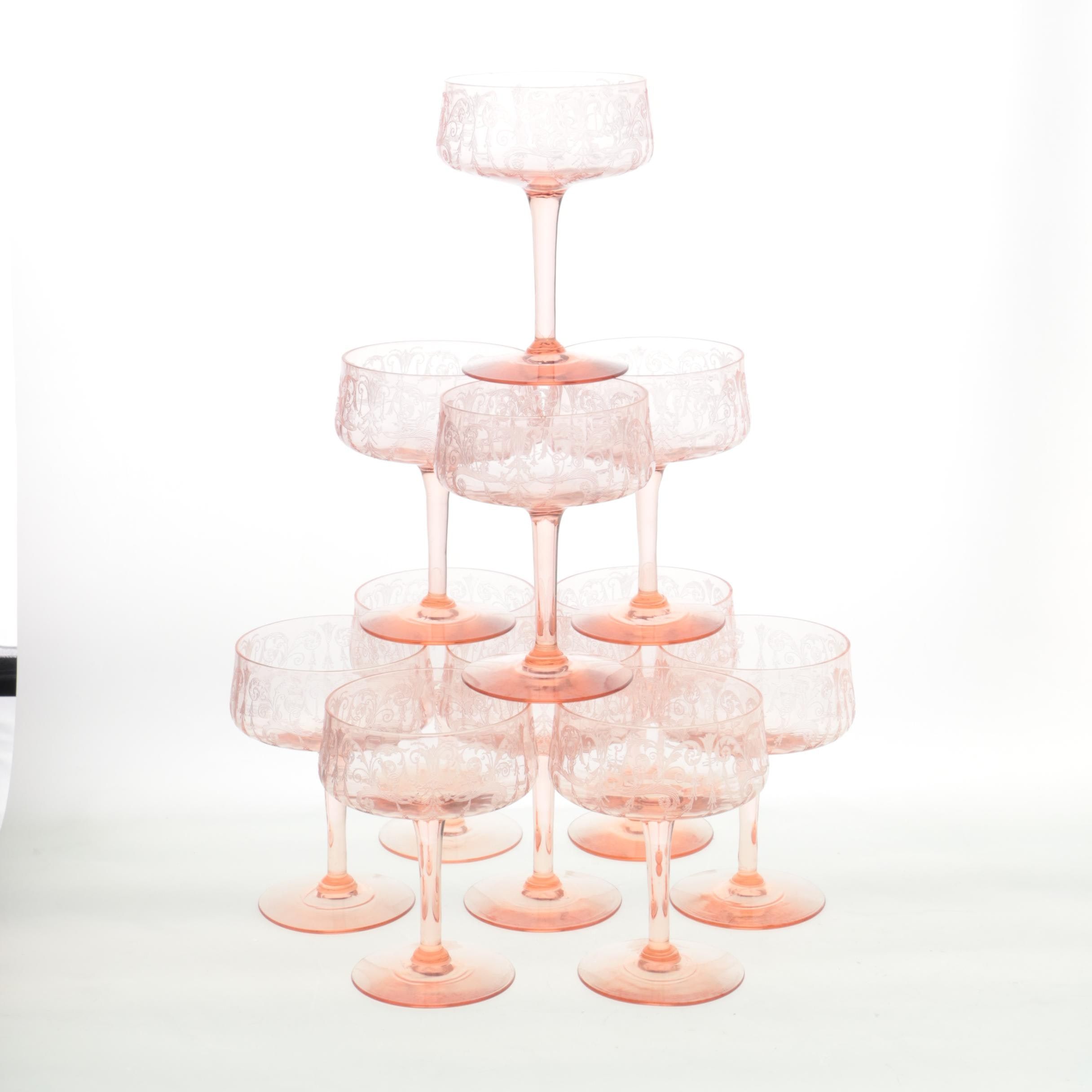 Depression Glass Pink Champagne Coupes