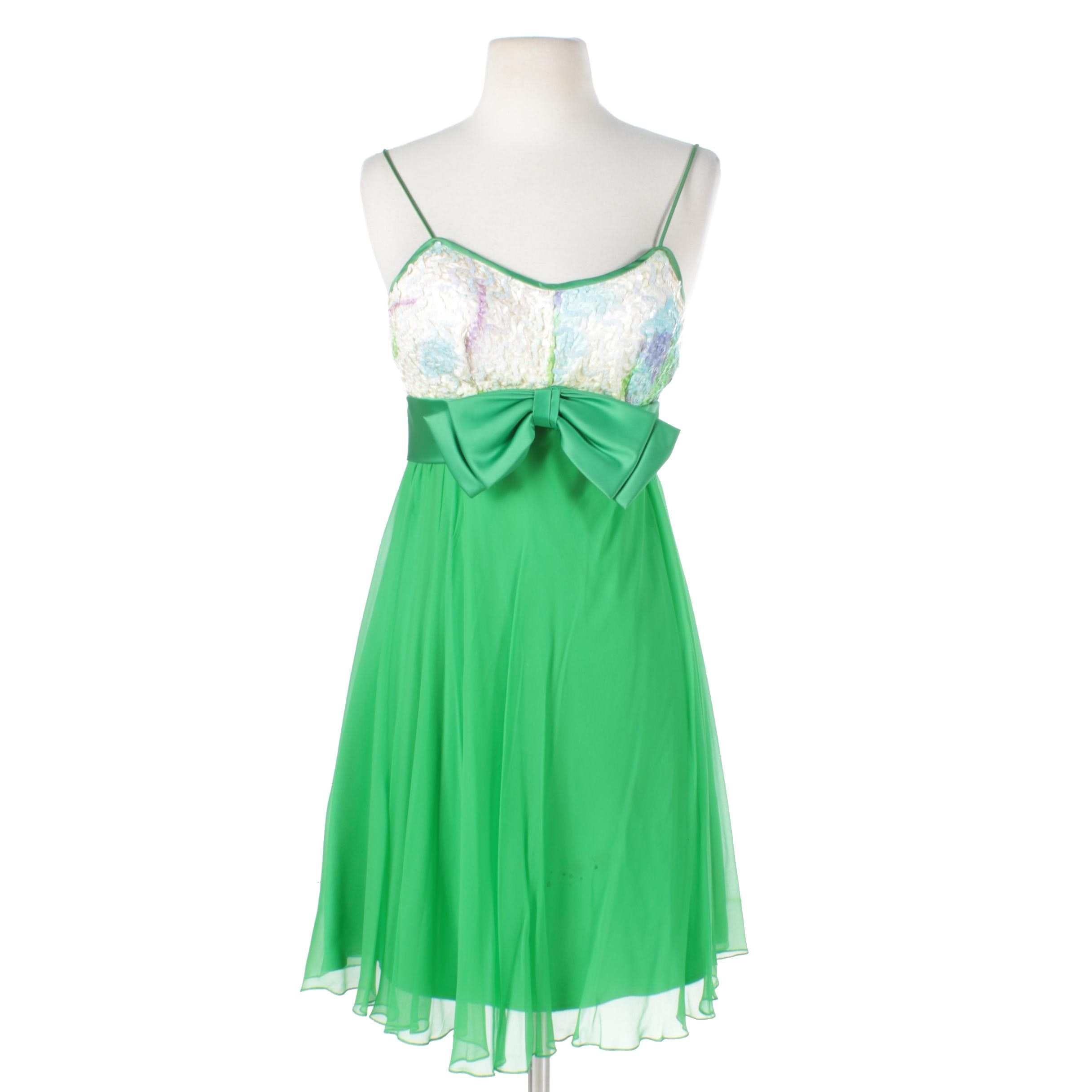 1960s Pat Richards Green Sequin Party Dress