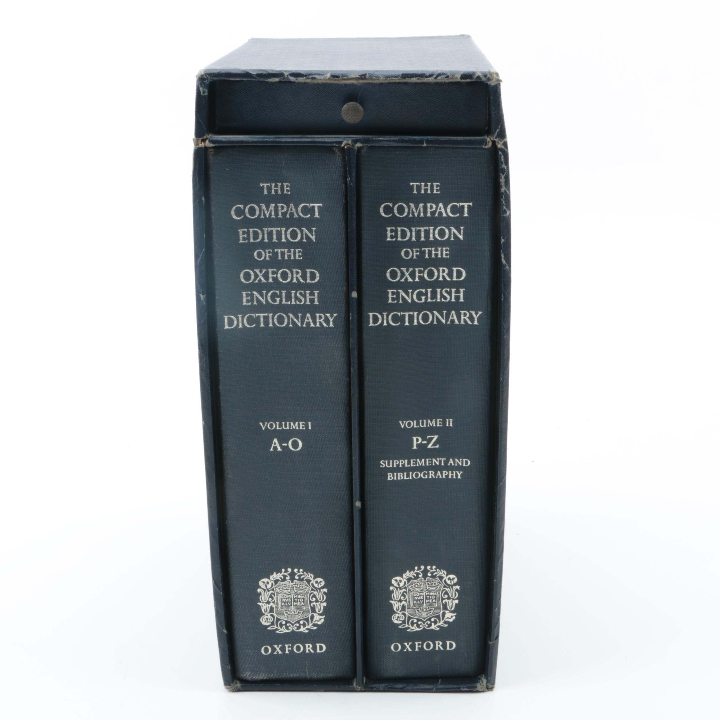 "1971 ""Compact Edition of the Oxford English Dictionary"" Box Set with Magnifier"