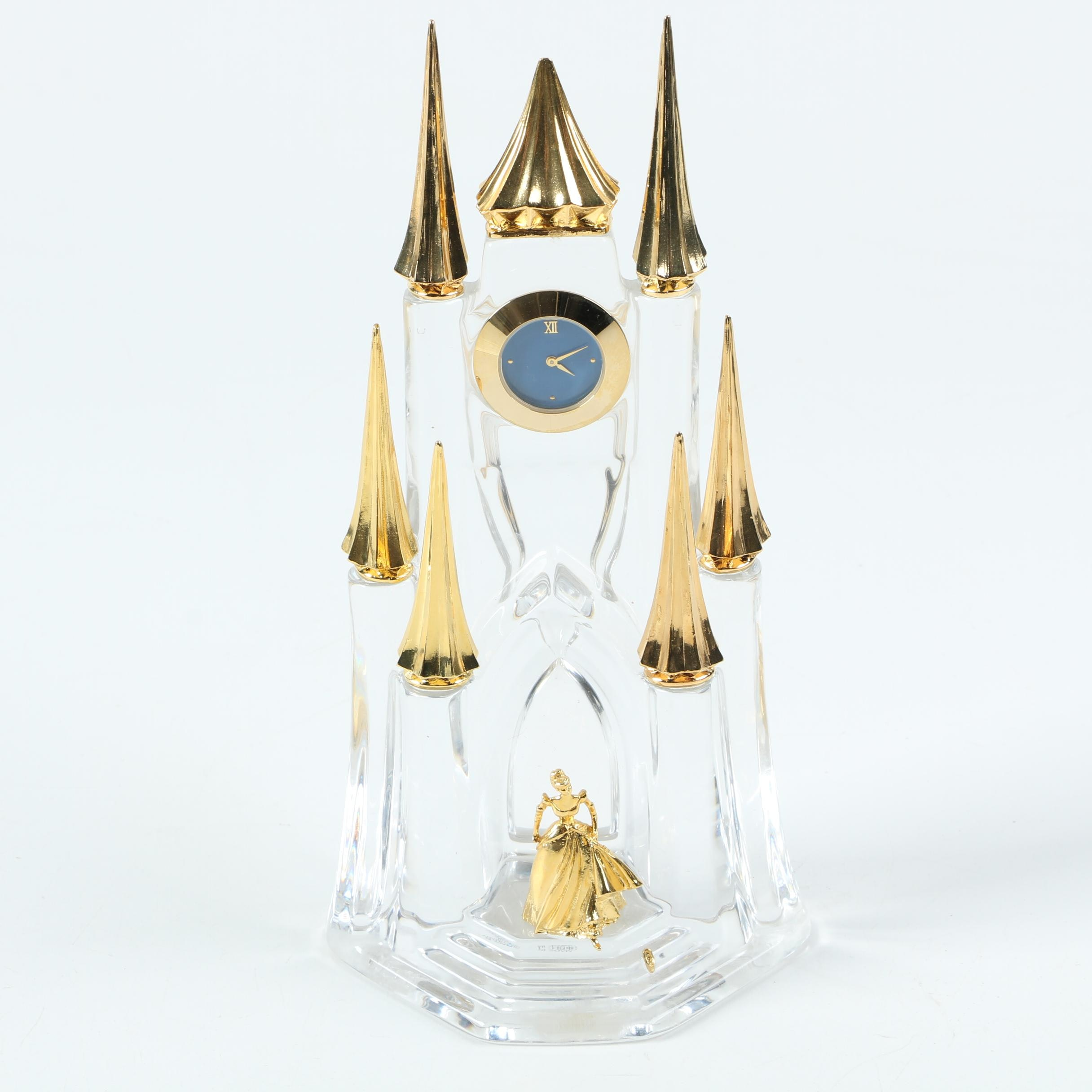 "Franklin Mint ""Midnight Enchantment"" Crystal and Gold Clock by Gerda Neubacher"