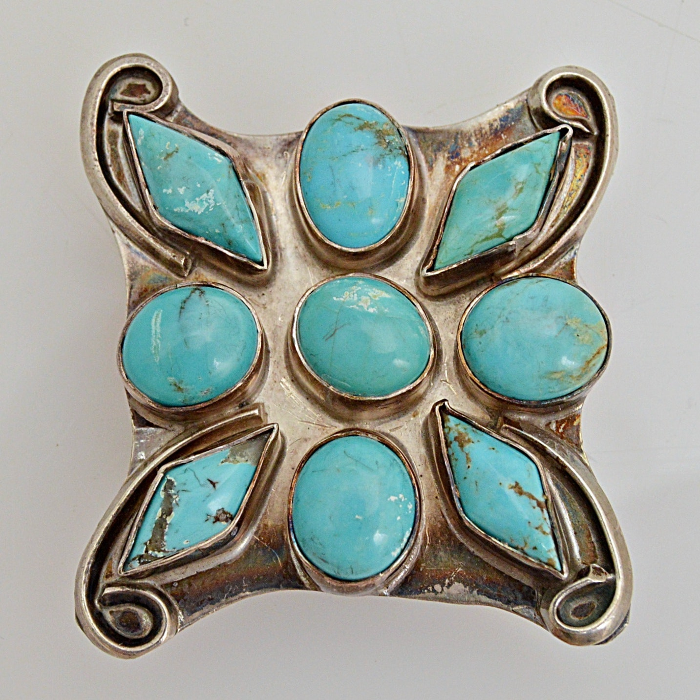 Vintage Sterling Silver and Turquoise Converter Brooch