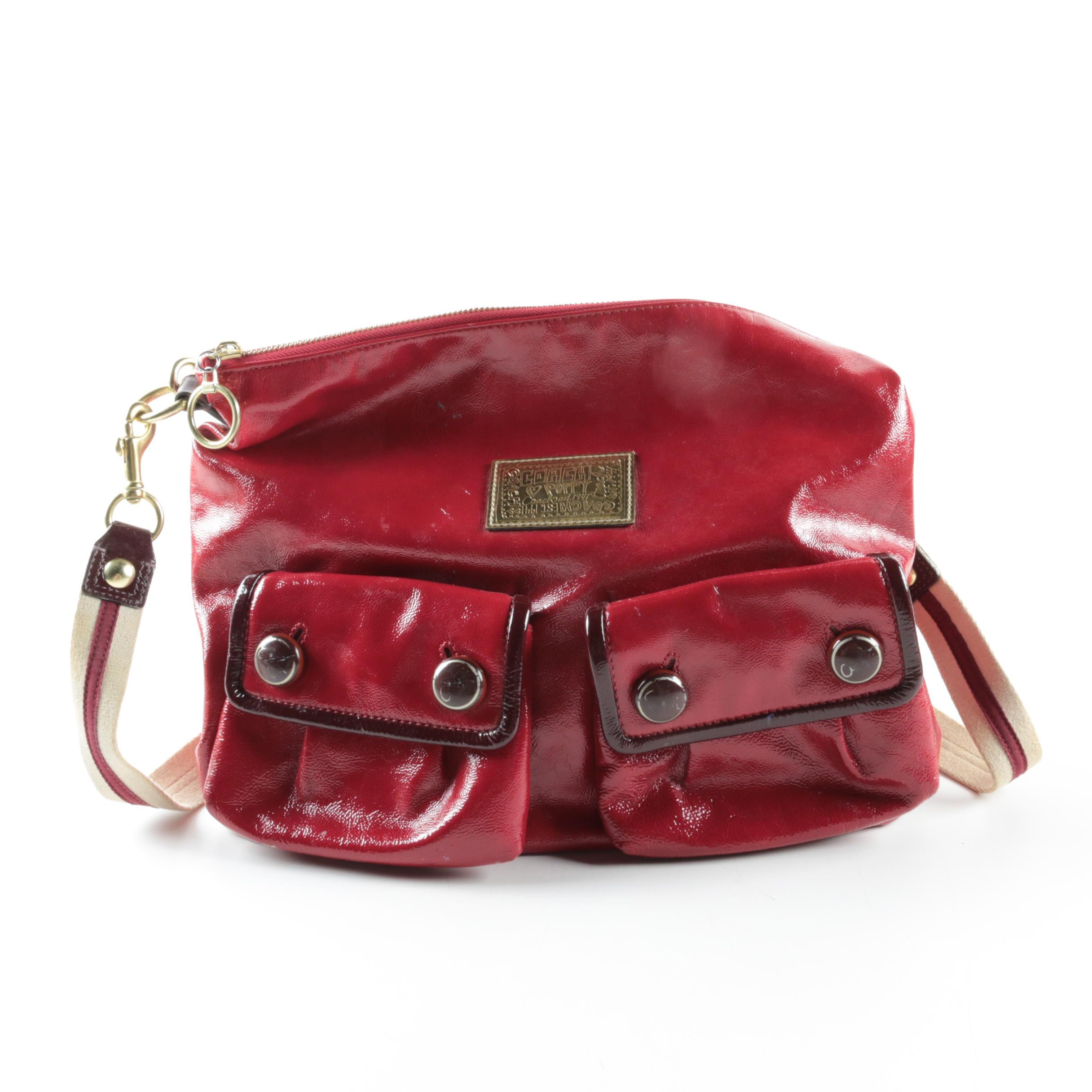 Coach Poppy Red Patent Leather Handbag