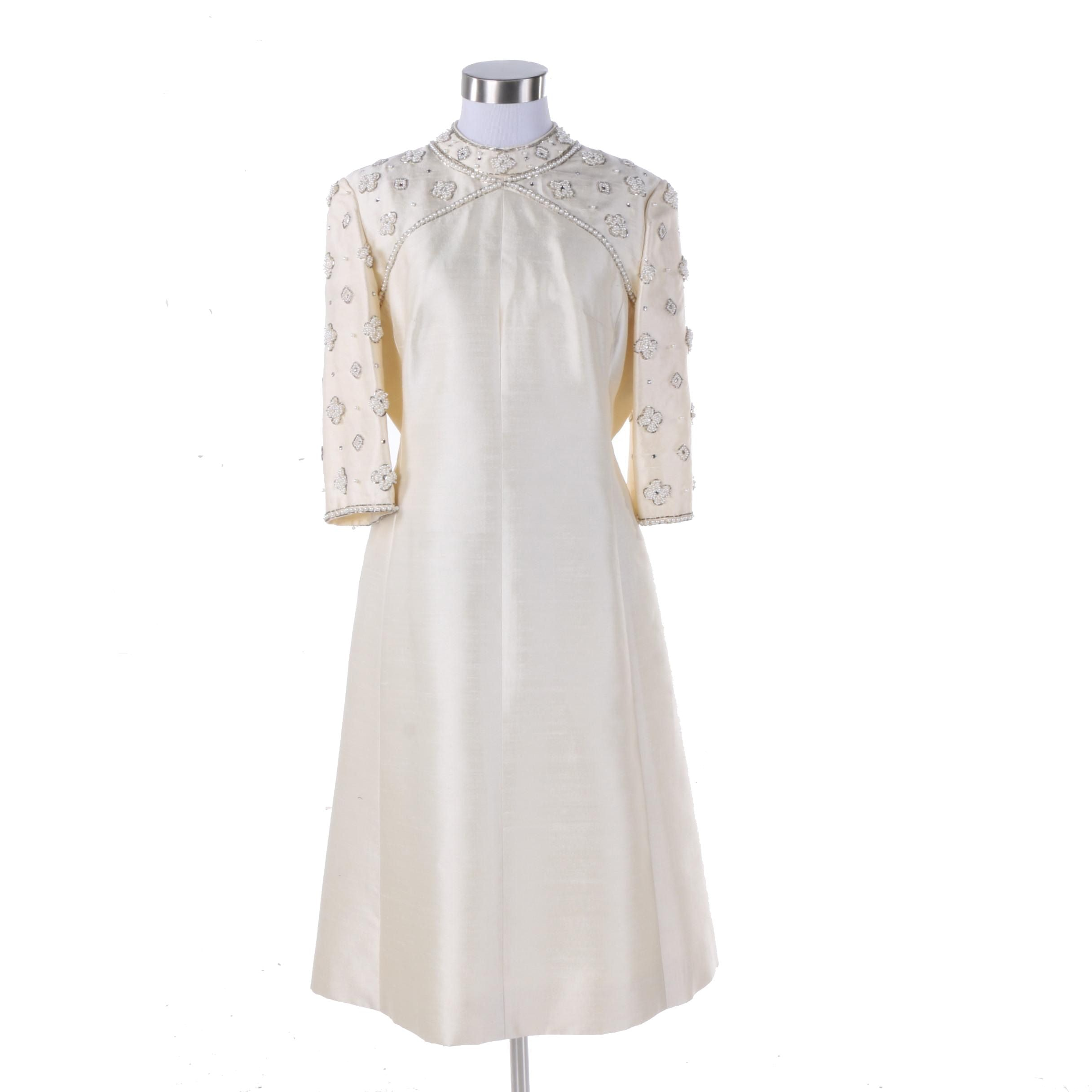 1960s Cream Dupioni Silk Cocktail Dress with Faux Pearl Beading